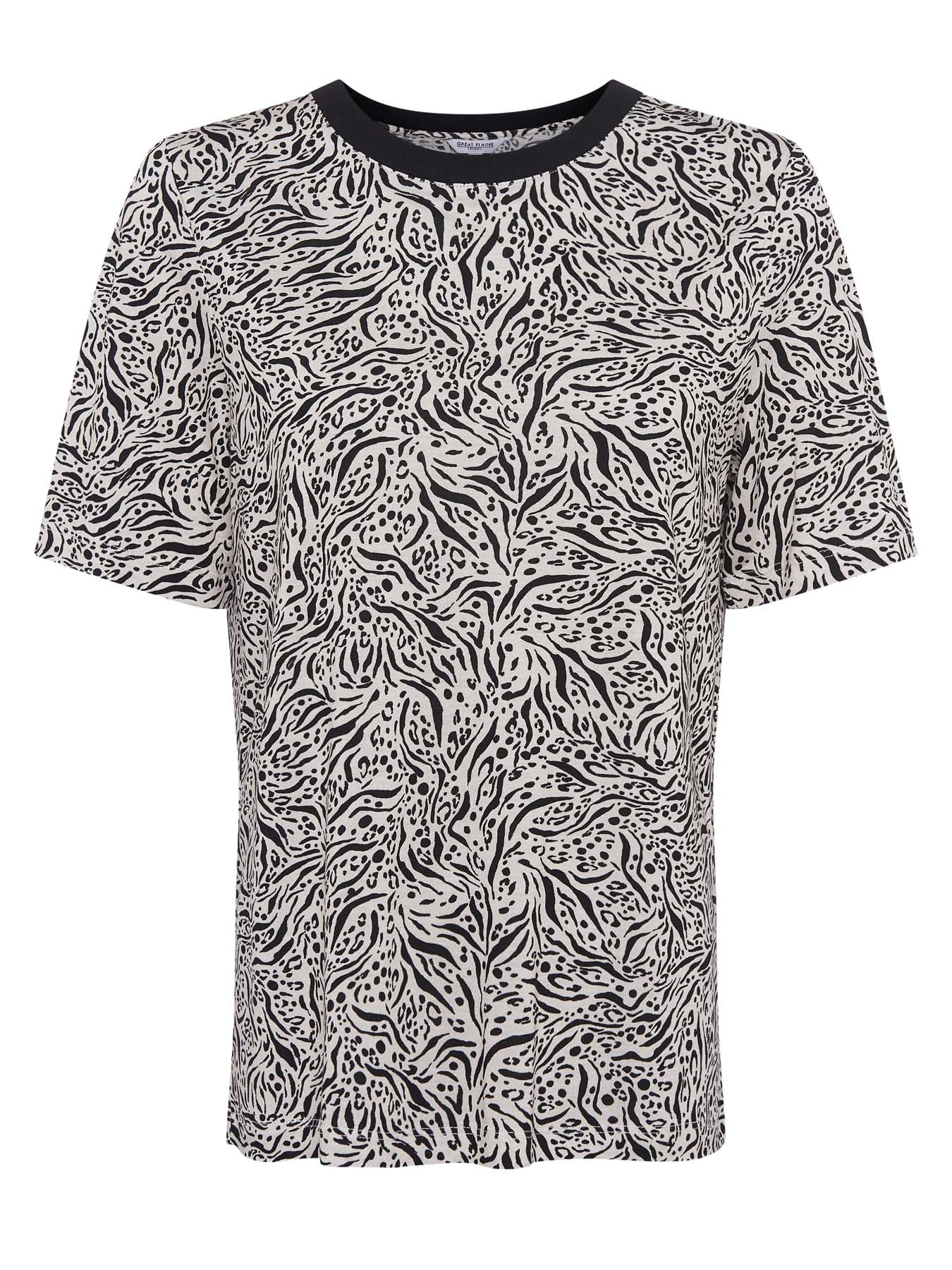 Great Plains Javan Print Tee for Ladies in Black / White