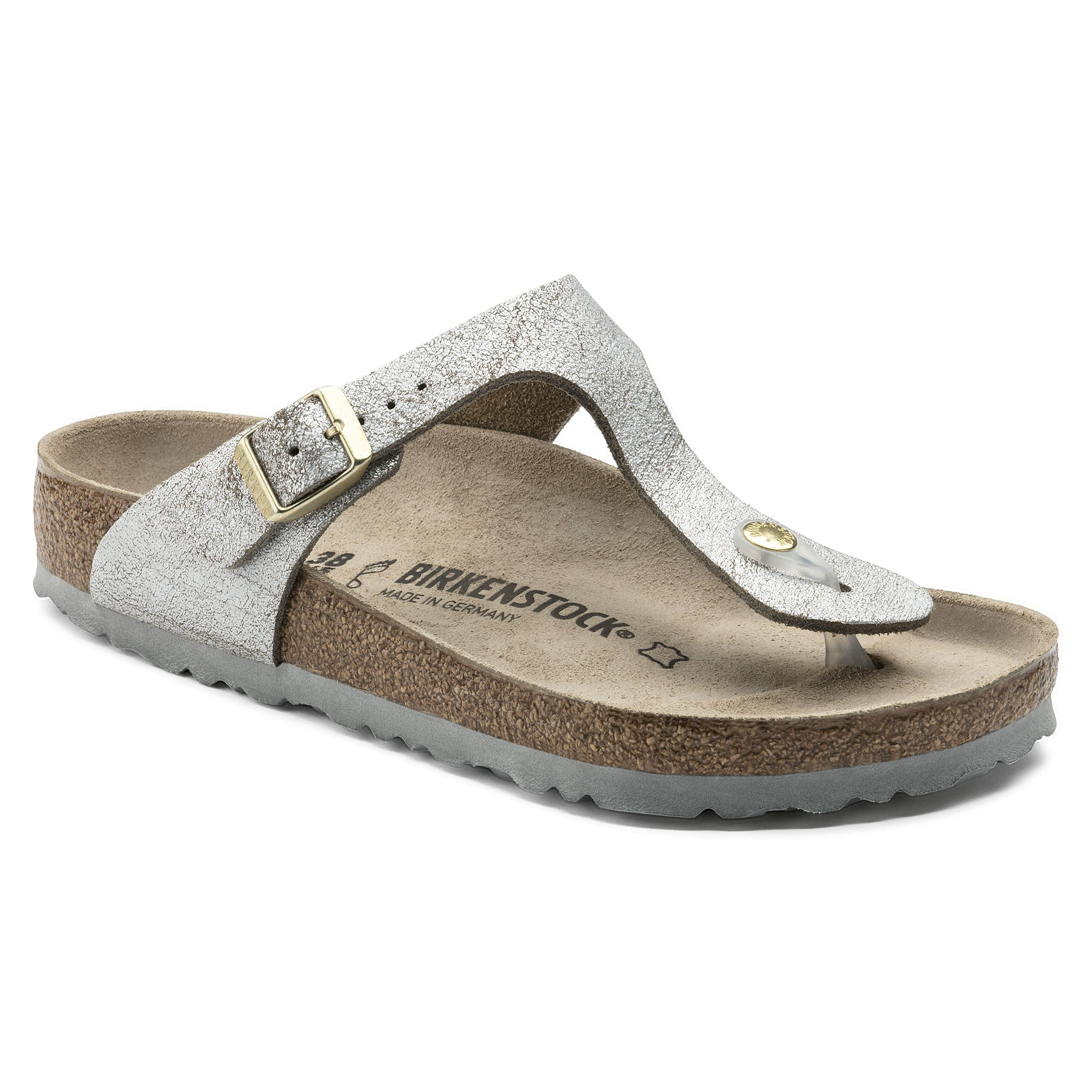 Birkenstock Gizeh Leather Sandal for Ladies in Silver Blue