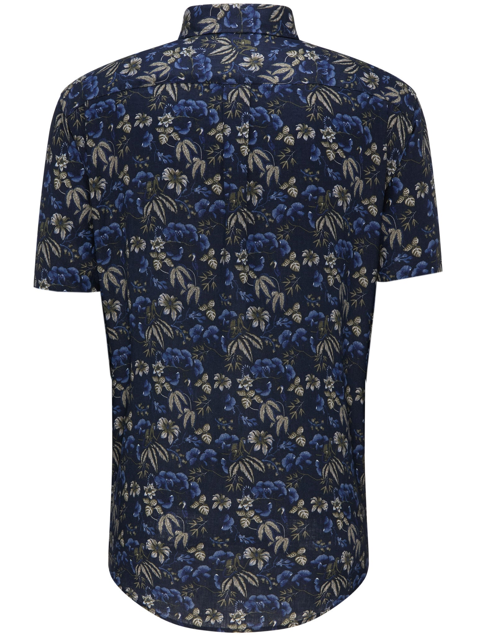 Fynch Hatton Linen Print Short Sleeved Shirt for Men in Navy Flower