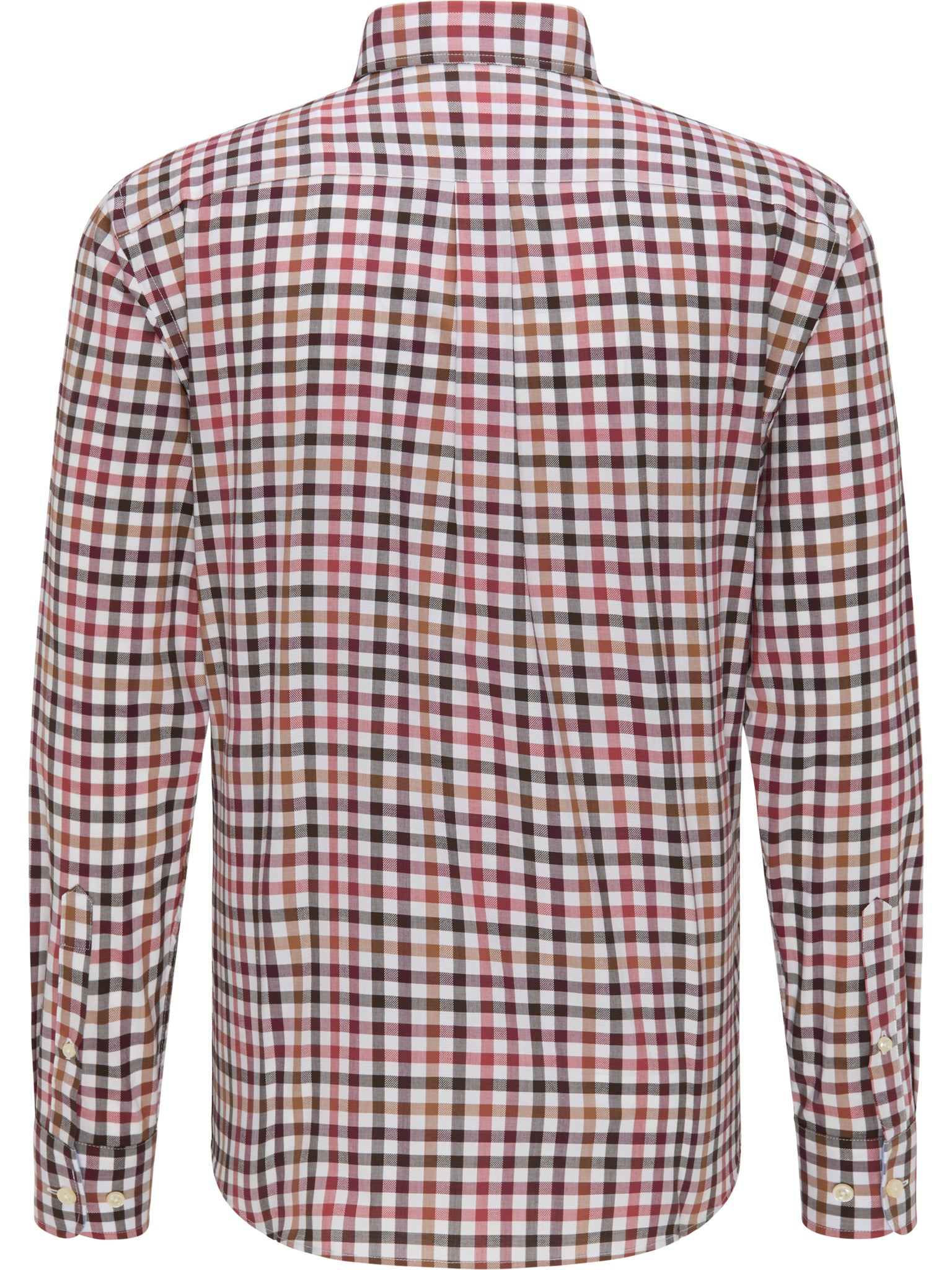 Fynch Hatton Supersoft Combi Check Shirt for Men in Terracotta - Biscotti