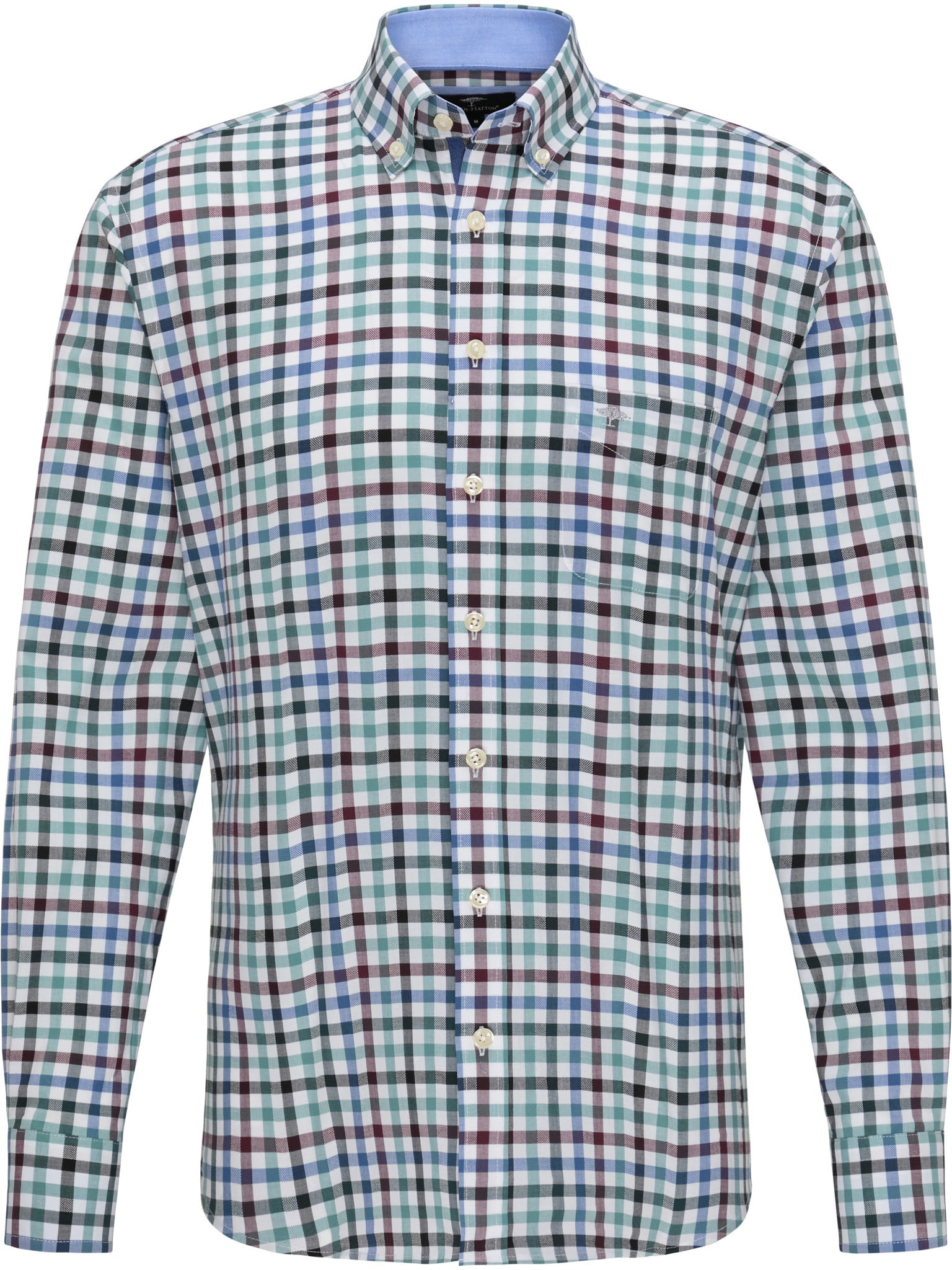 Fynch Hatton Supersoft Combi Check Shirt for Men in Amarena - Softpine