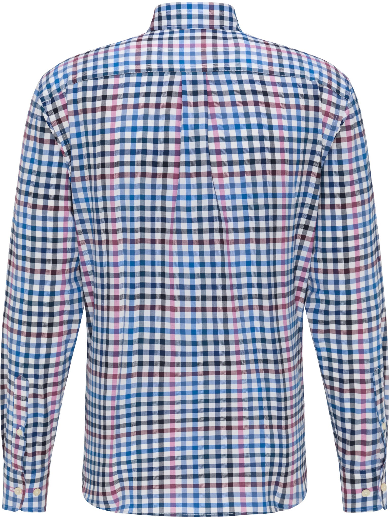 Fynch Hatton Supersoft Combi Check Shirt for Men in Dragonfruit-Blue