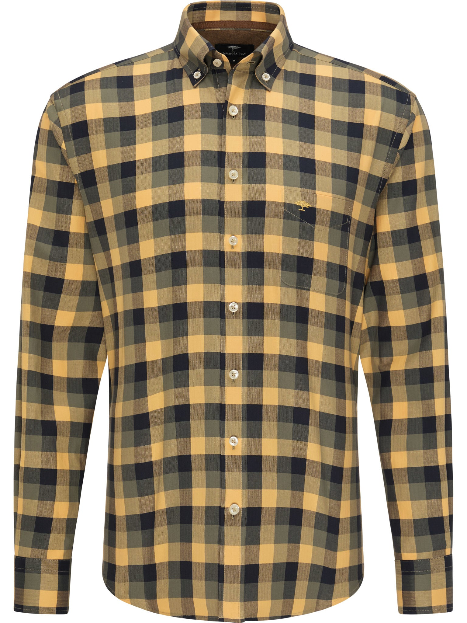Fynch Hatton Checked Casual Fit Premium Shirt for Men in Mustard Check