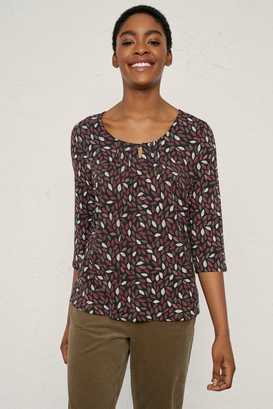 Seasalt Neddle Point Top for Ladies in Leaf Swirl Hawthorn