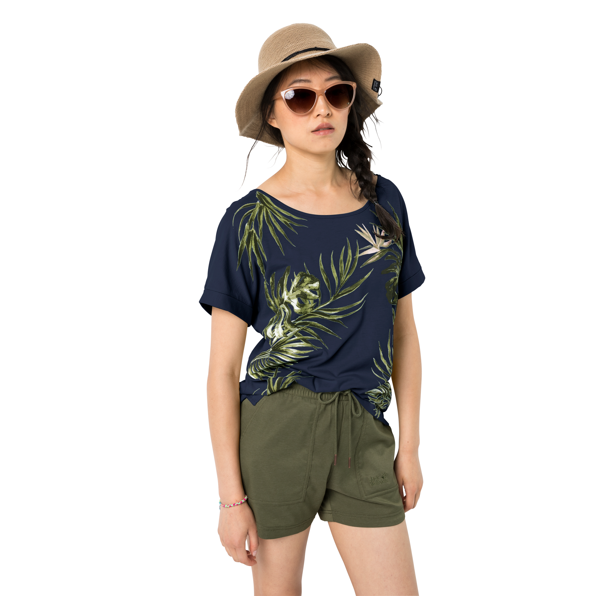 Jack Wolfskin Tropical Leaf Tee for Ladies in Midnight Blue