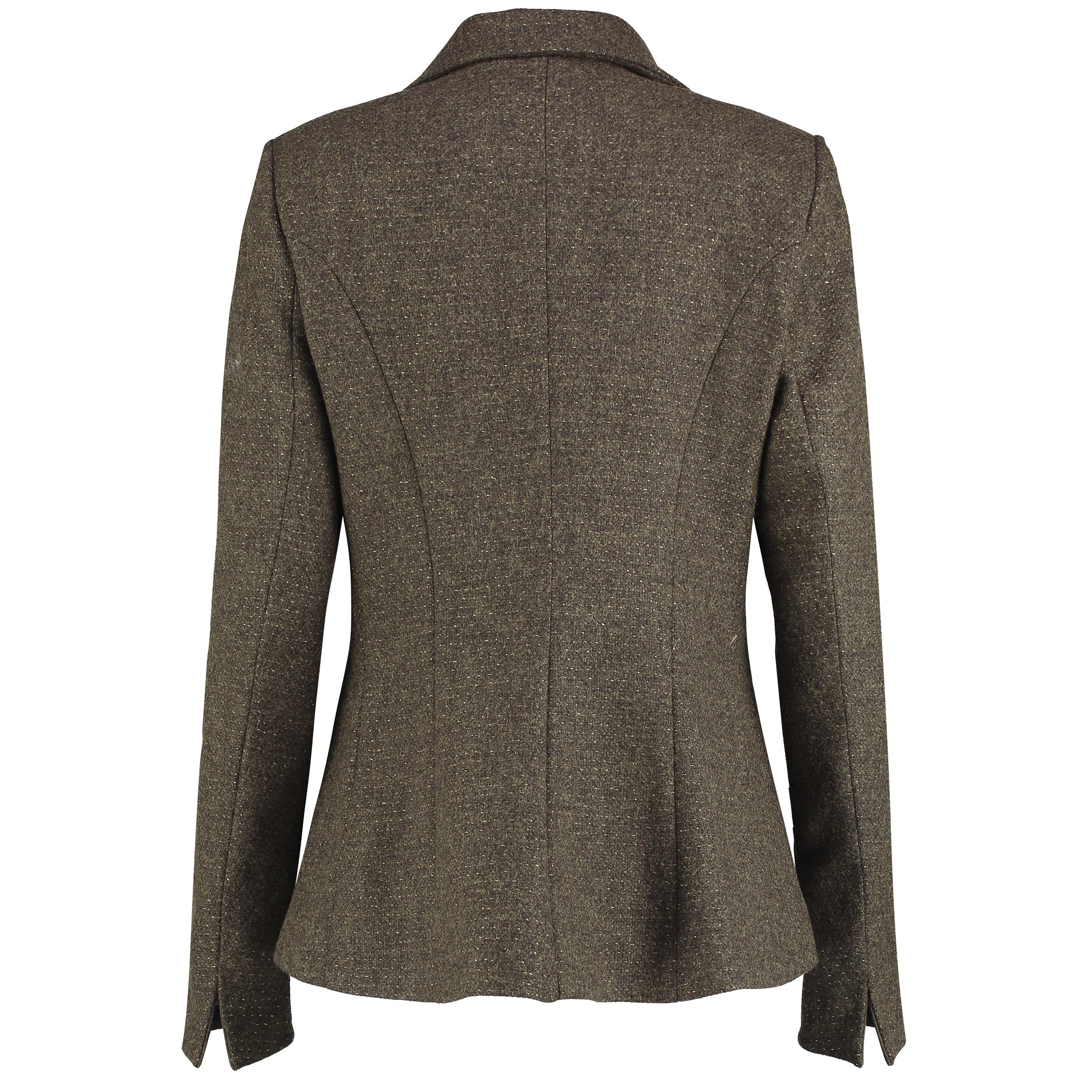 T.Ba Duck Tweed Jacket for Ladies in Green Gold Tweed