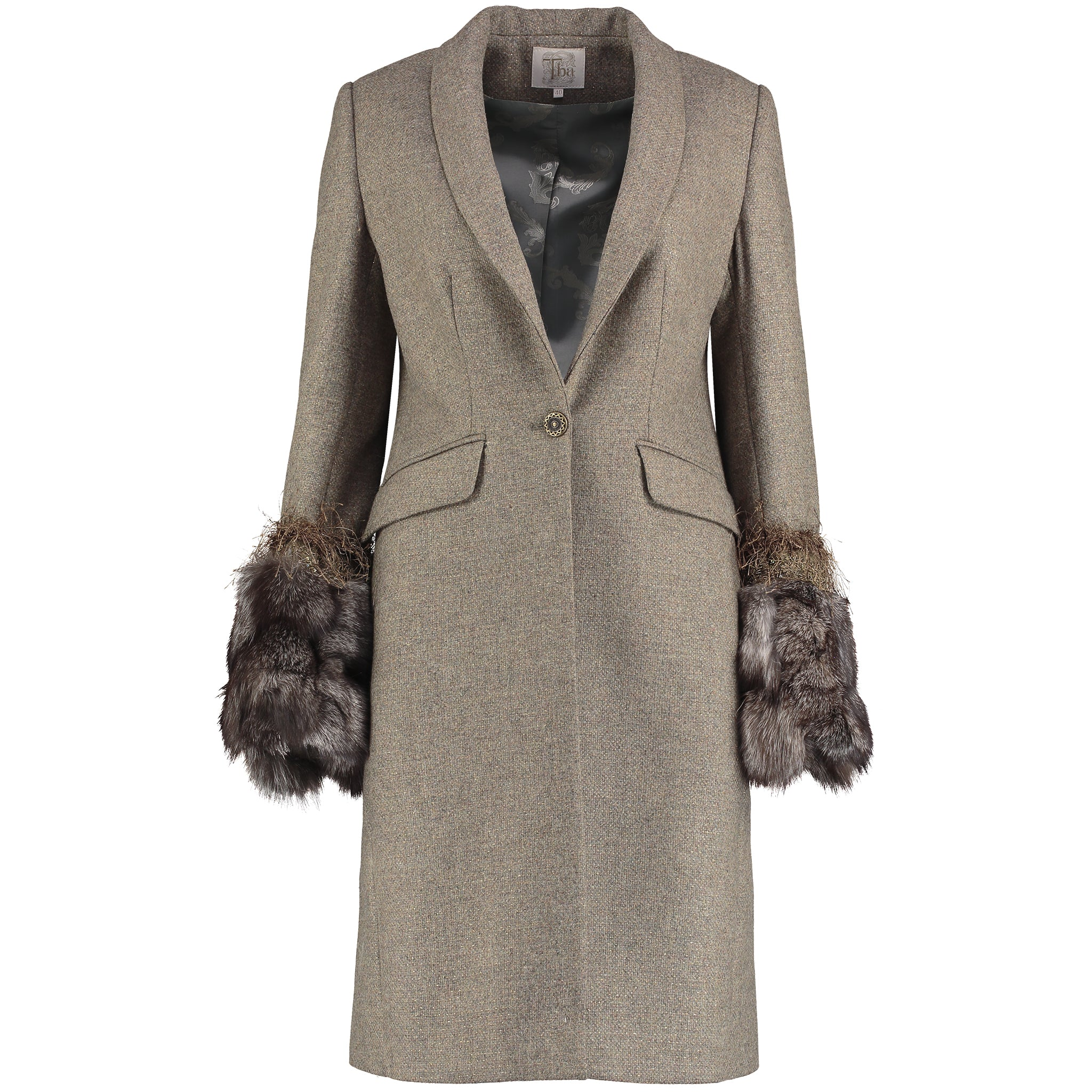 T.Ba Dasha Knee Length Tweed Coat for Ladies in Fox Tweed