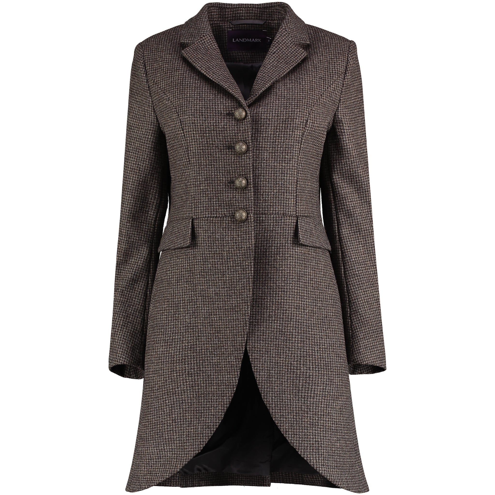Landmark New Riding Tweed Coat for Ladies in Chocolate Puppytooth
