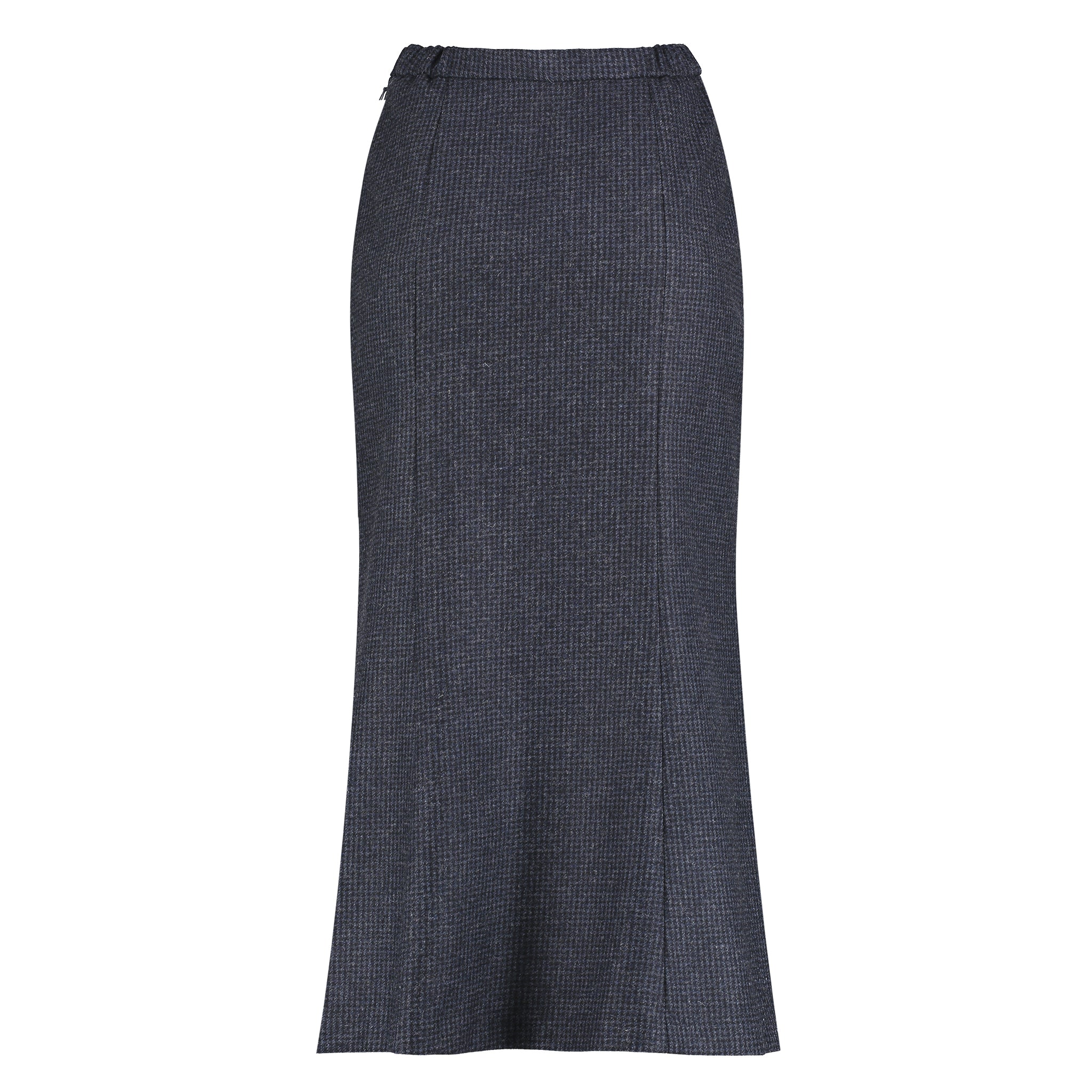 Landmark Long Tweed Panel Skirt for Ladies in Navy Puppytooth