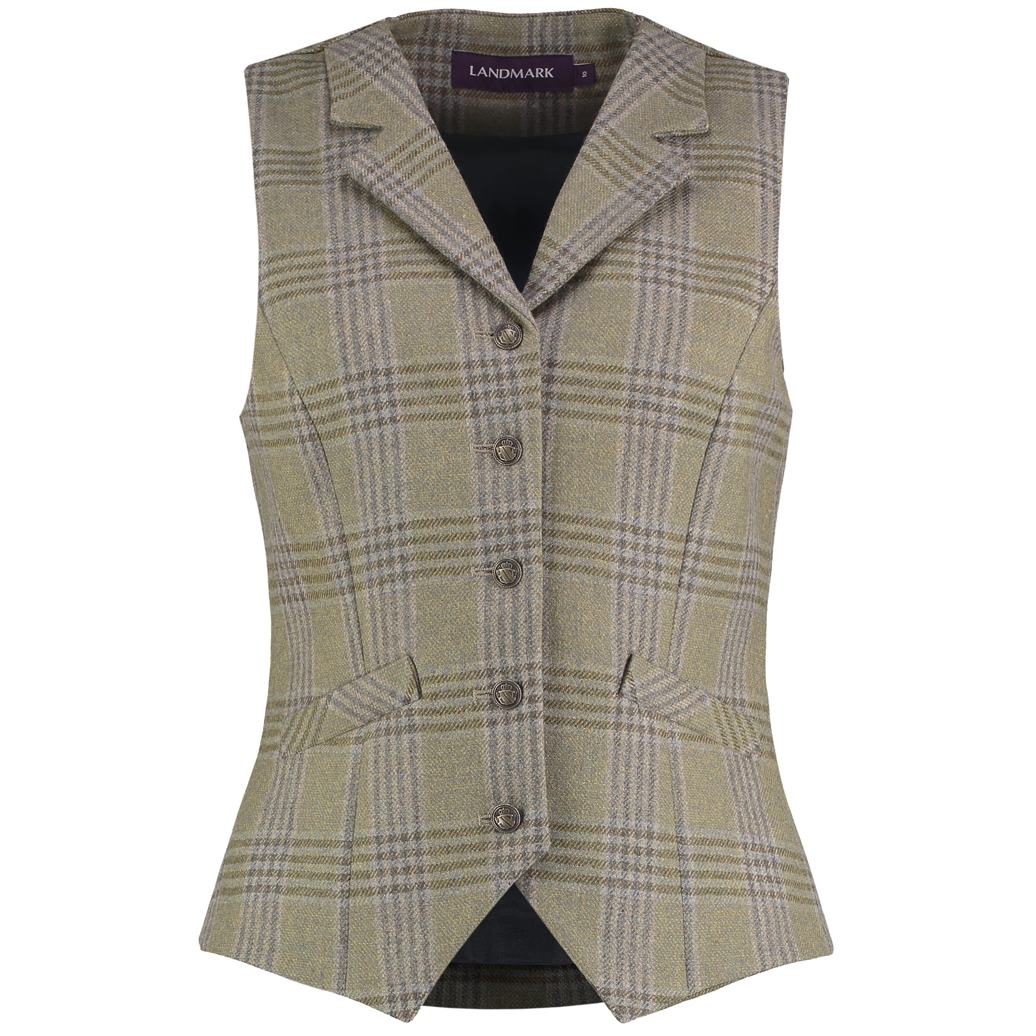 Landmark Stanton Tweed Waistcoat for Ladies in Blue Steel Tweed