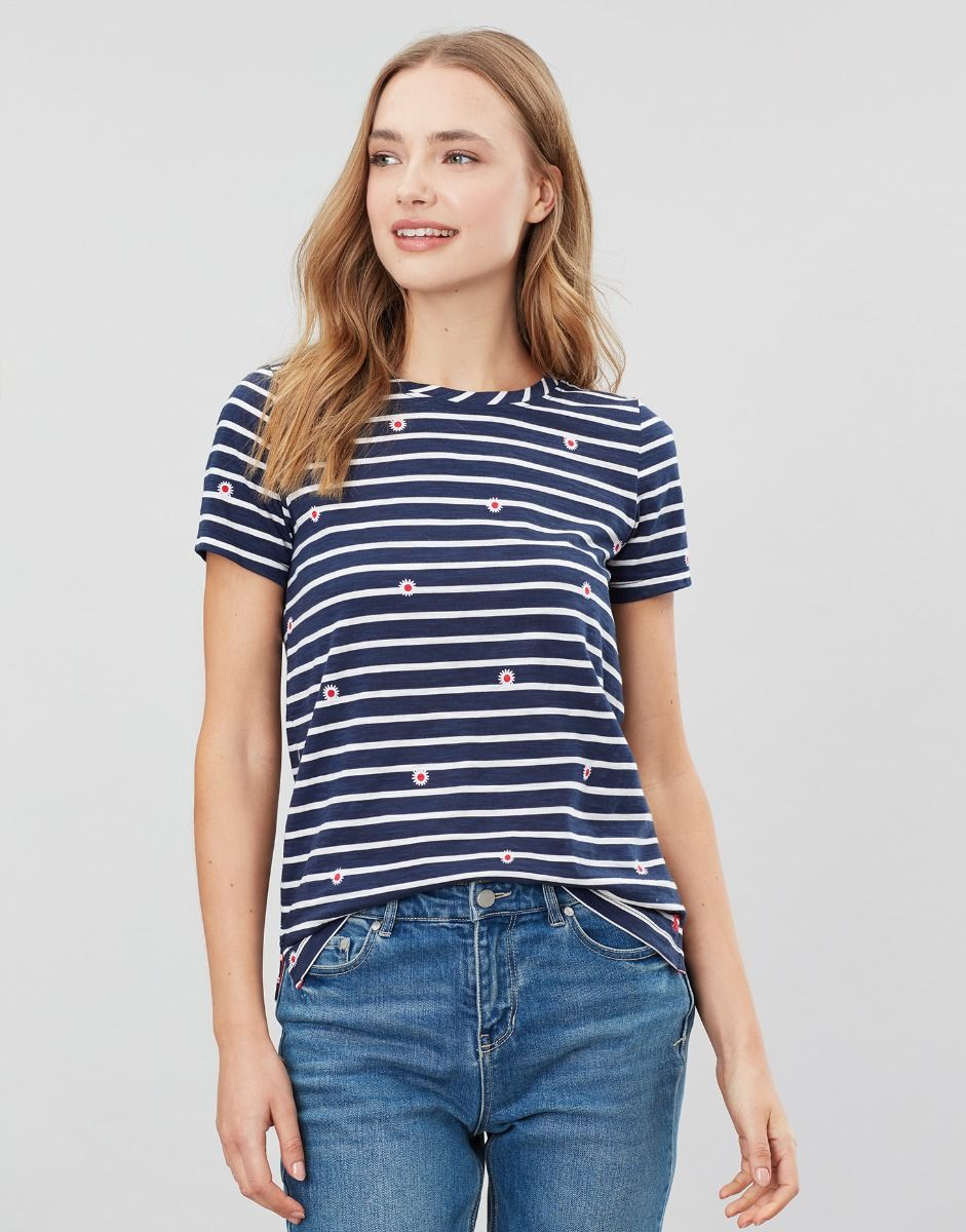 Joules Carley Print Classic Crew Tee for Ladies in Daisy Stripe