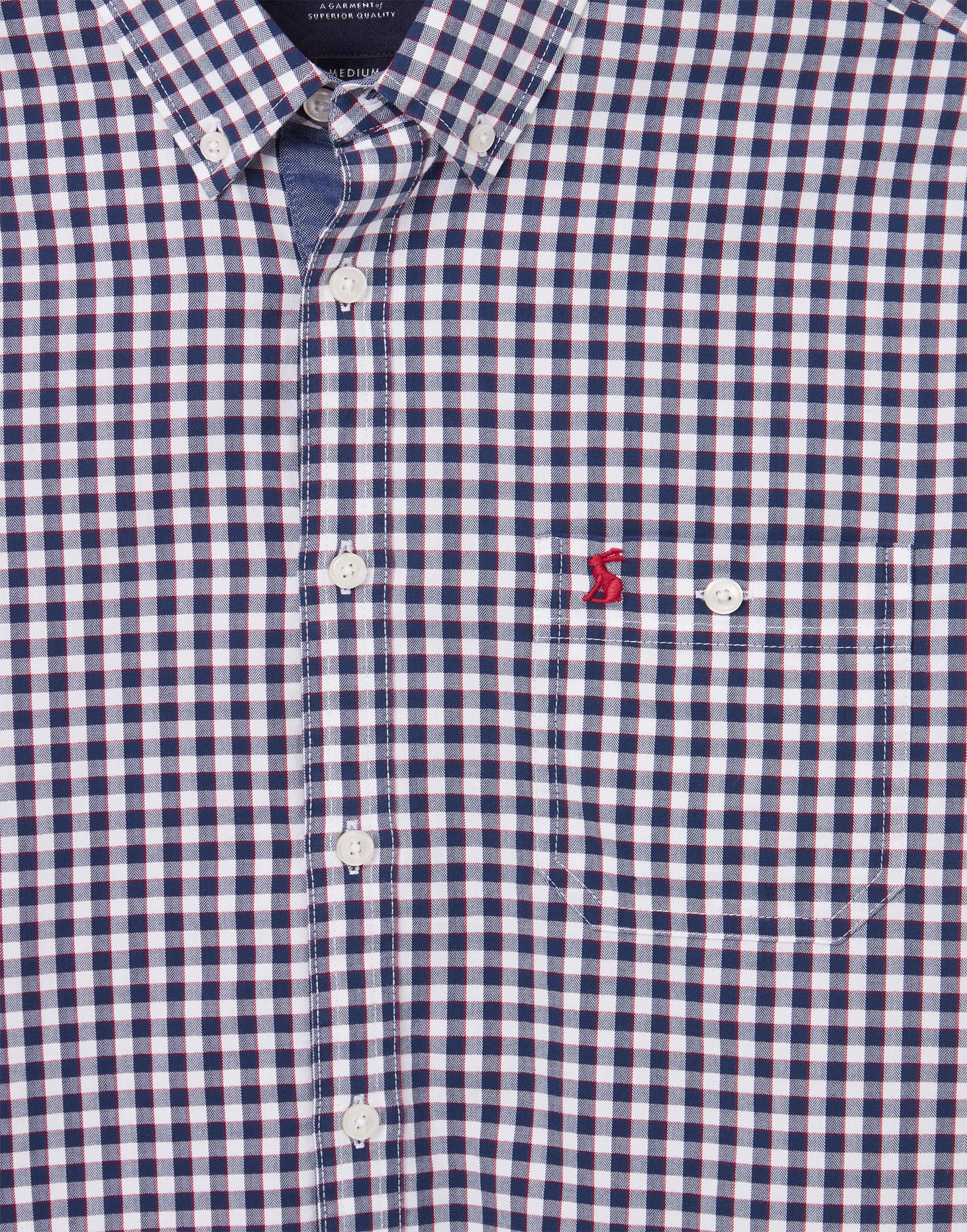 Joules Abbott Long Sleeve Classic Fit Peached Poplin Shirt for Men in Blue White Check