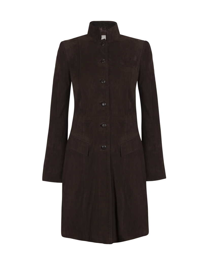 Anna Lascata Soldier Long Suede Coat for Ladies in Chocolate