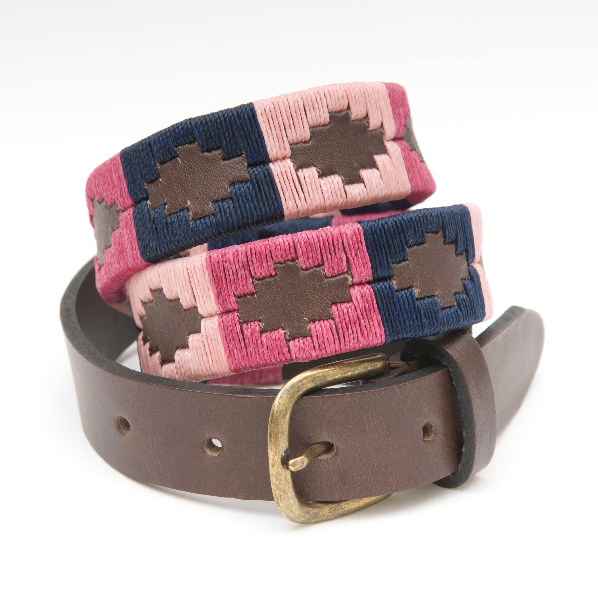 Pioneros Narrow Brown Polo Belt in Berry/Navy/Pink