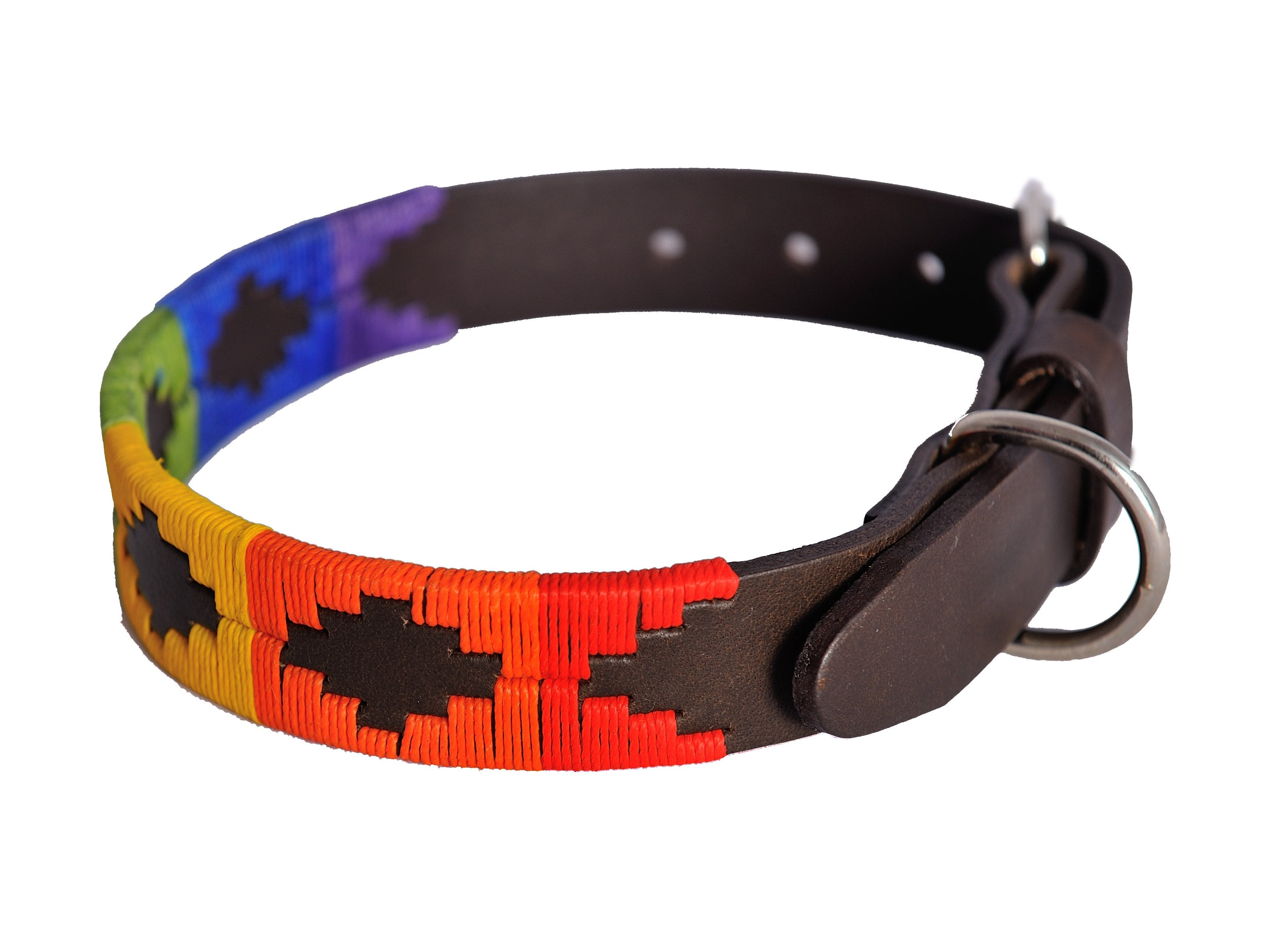 Pioneros Brown Polo Belt Style Dog Collar in Rainbow