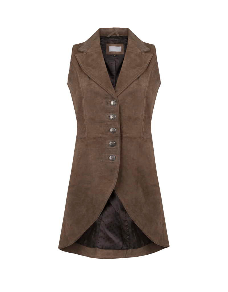 Anna Lascata Anna Suede Long Waistcoat for Ladies in Tuffler