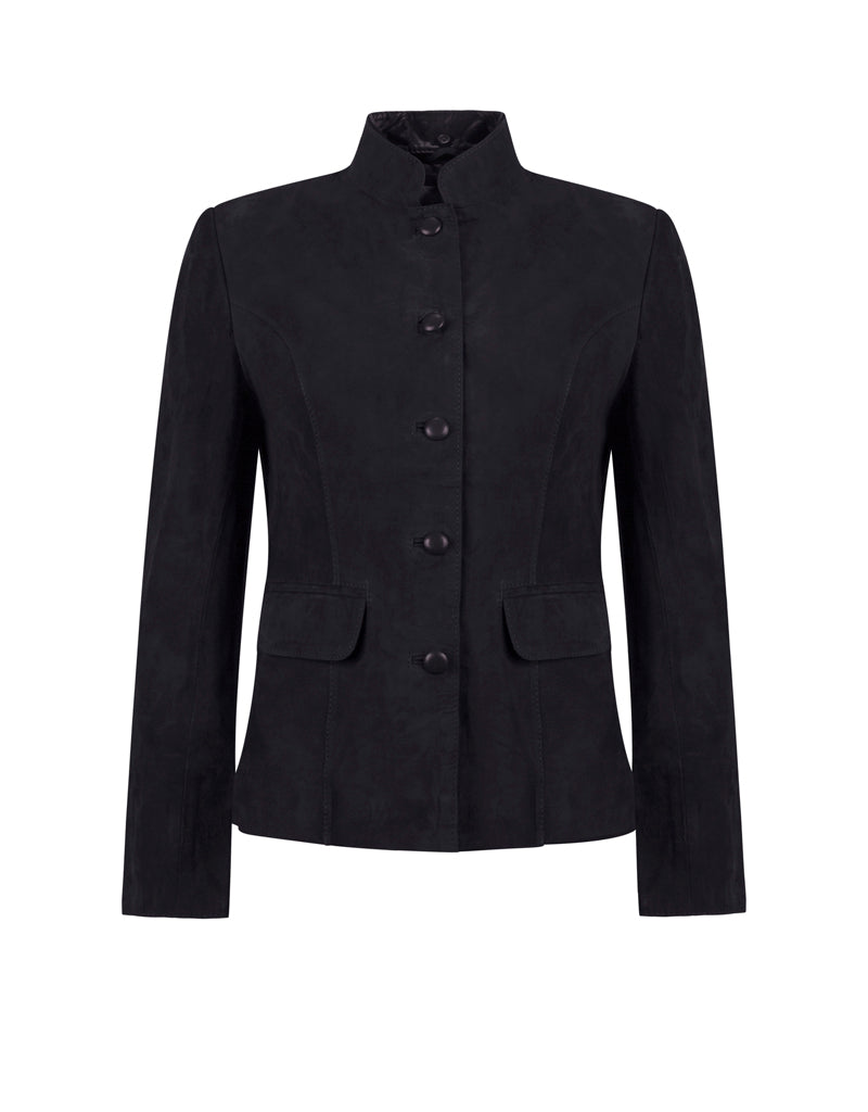 Anna Lascata Emily Suede Mandarin Jacket for Ladies in Navy