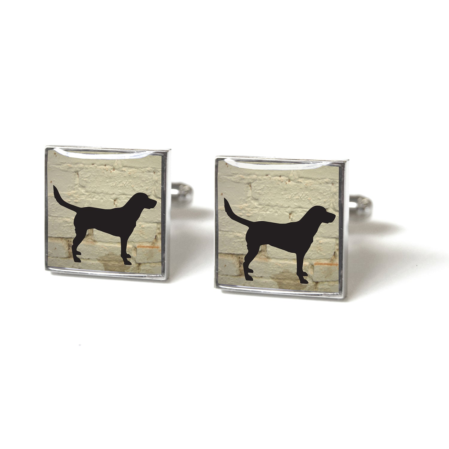 Tyler and Tyler Labrador White Brick Enamel Cufflinks for Men