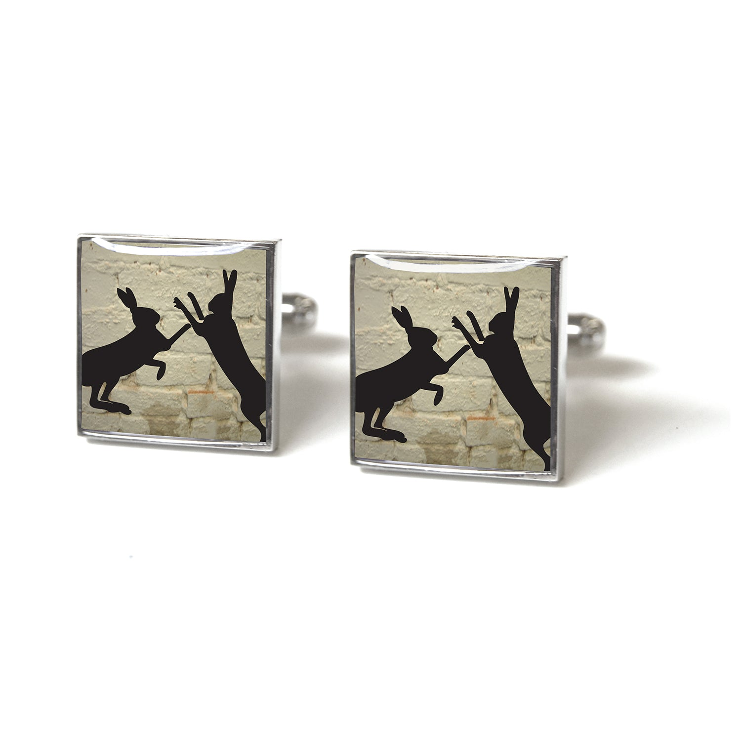 Tyler and Tyler Sparring Hares White Brick Enamel Cufflinks for Men
