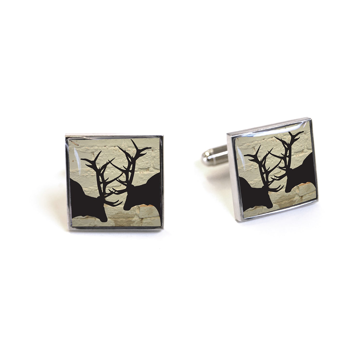 Tyler and Tyler Rut White Brick Enamel Cufflinks for Men