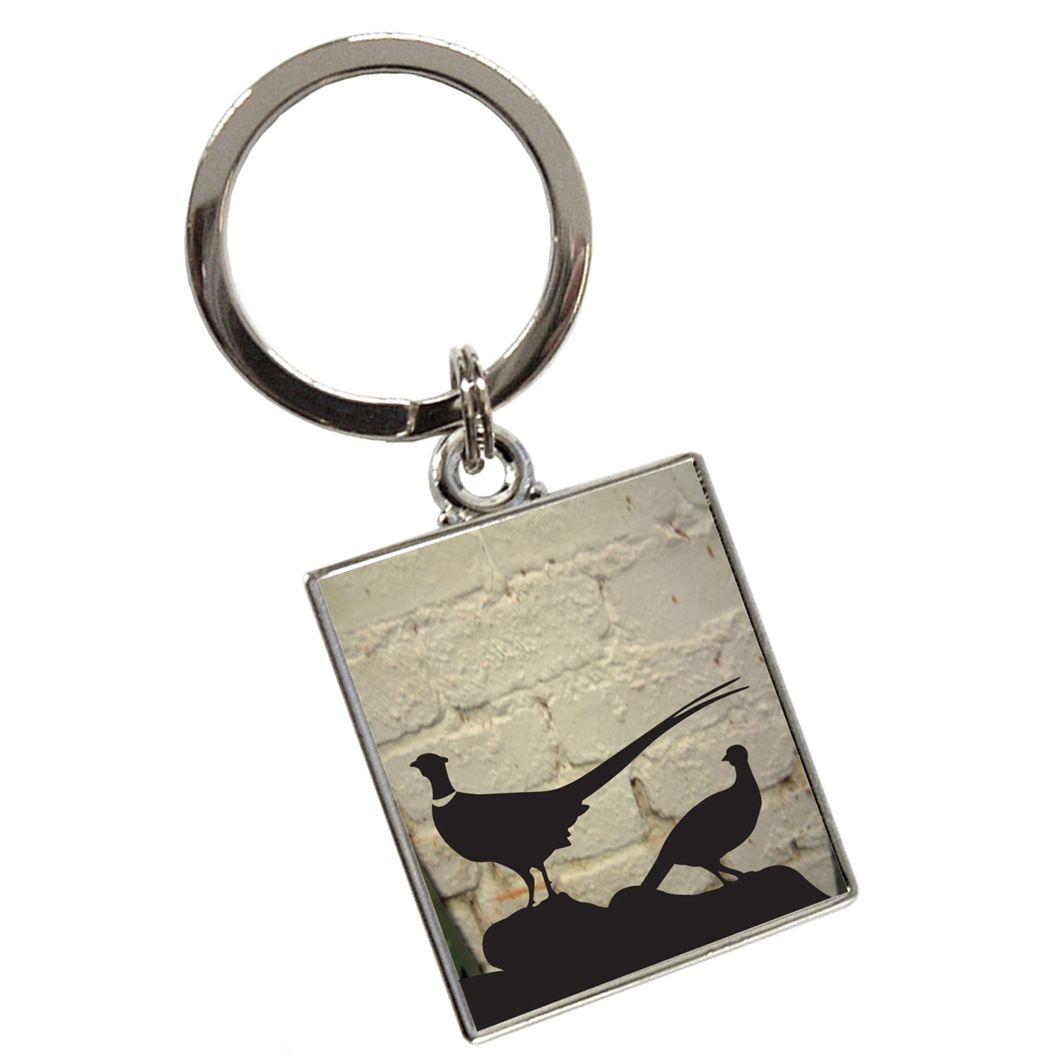 Tyler and Tyler Pheasant White Brick Enamel Key Ring for Men