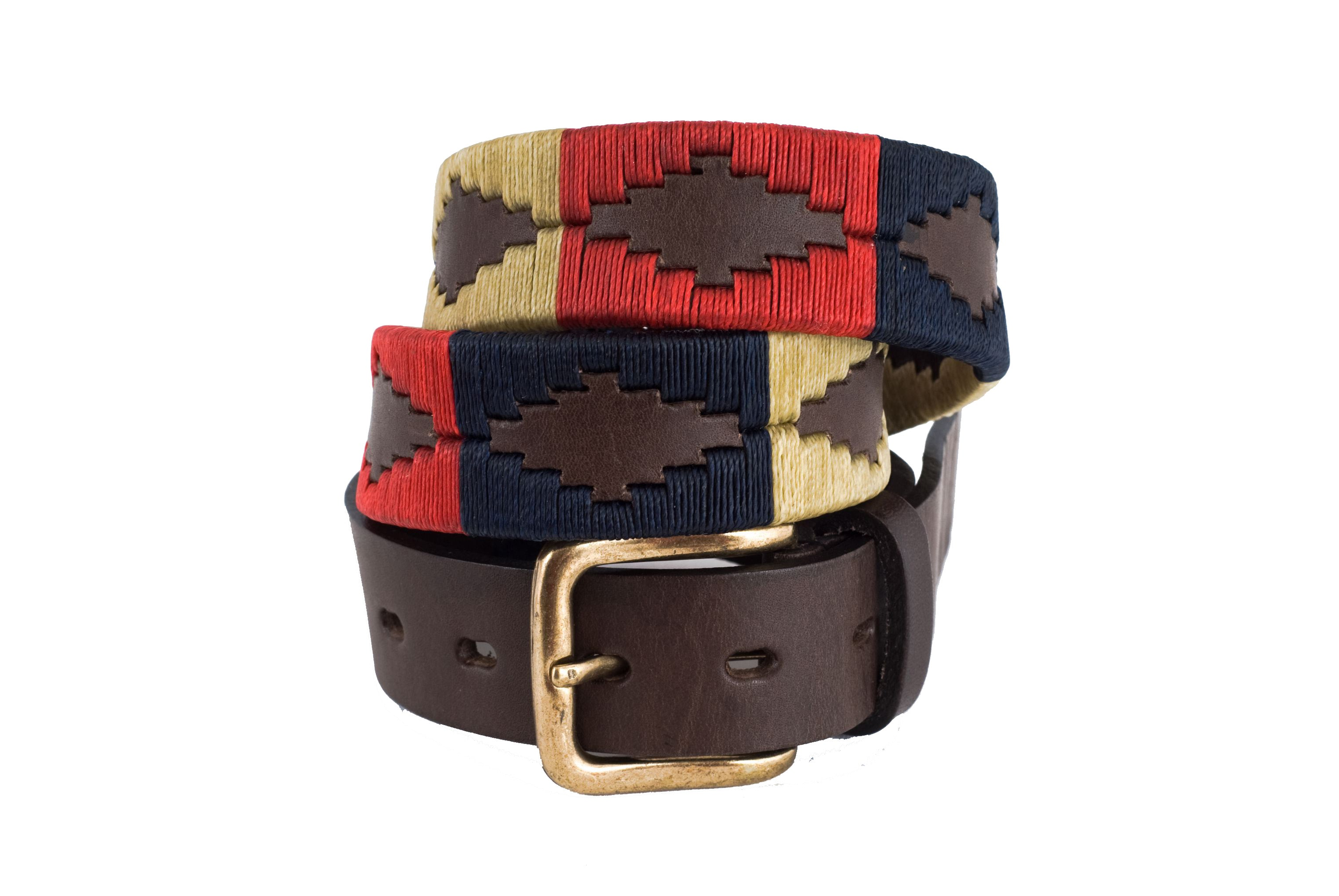 Pioneros Brown Polo Belt in Navy/Cream/Red