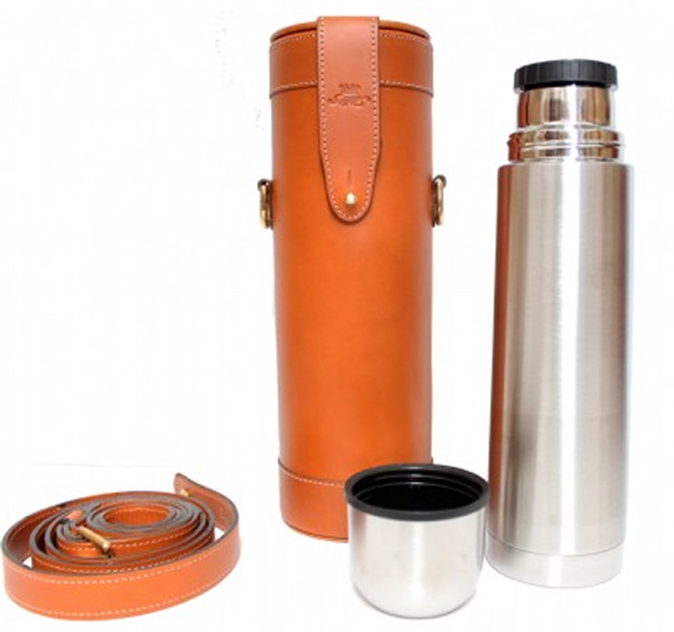 Marlborough World Leather-covered Thermos Flask in Tan