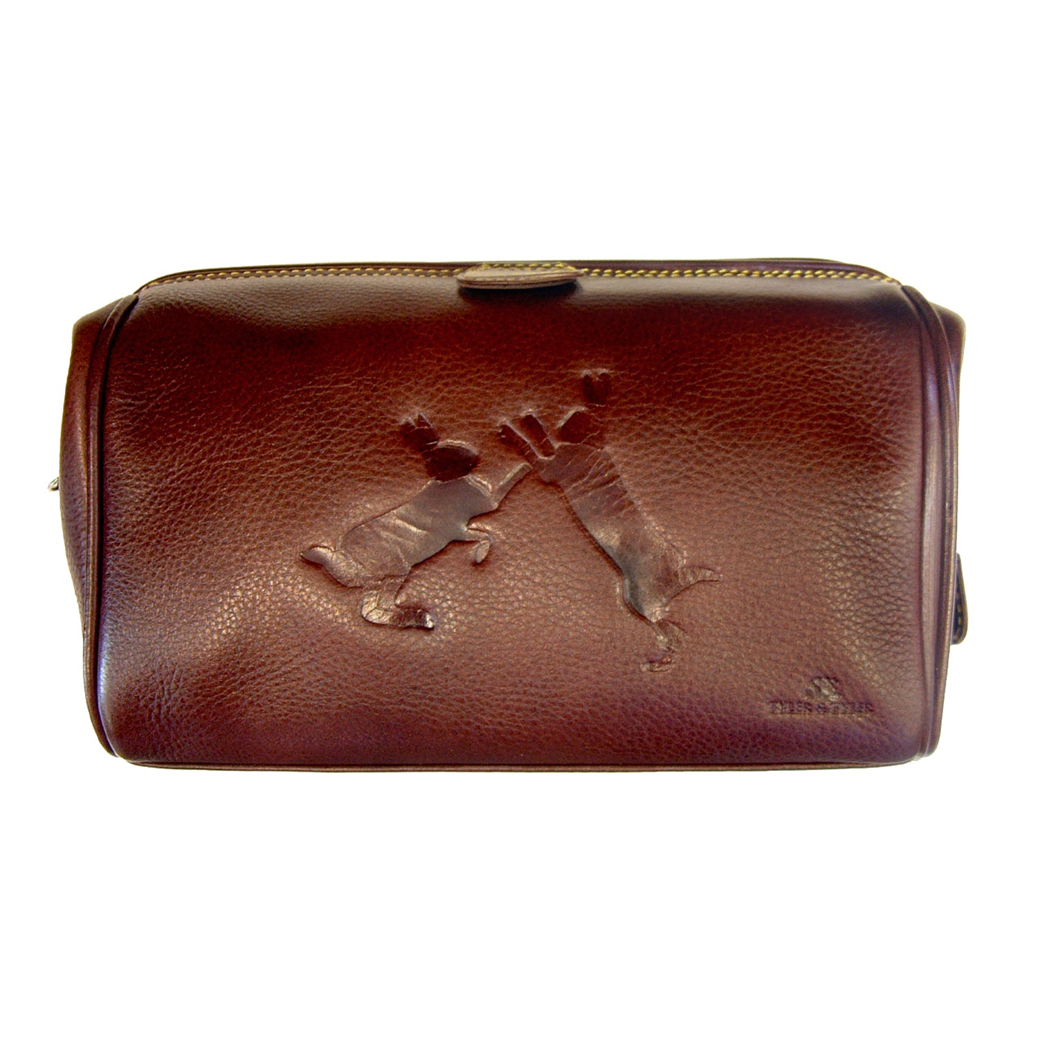 Tyler and Tyler Sparring Hares Luxury Leather Washbag for Men