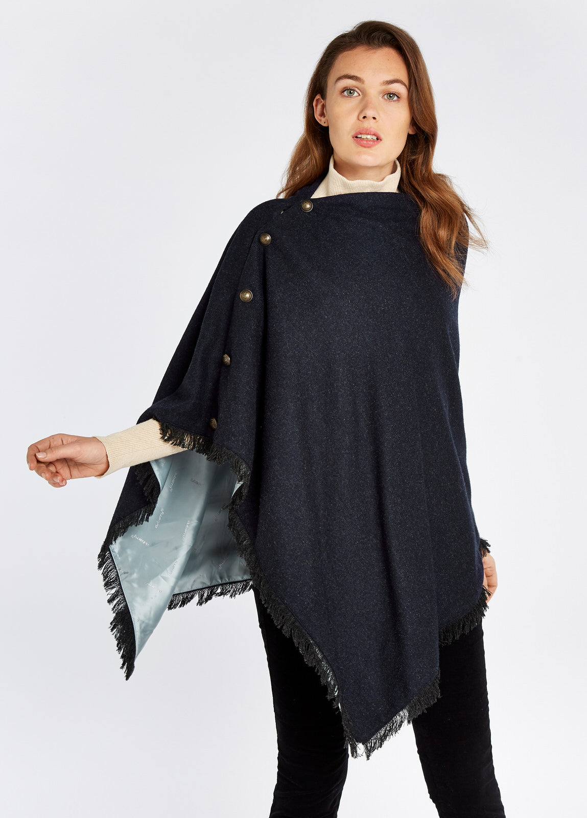 Dubarry Hazelwood Tweed Poncho for Ladies in Navy