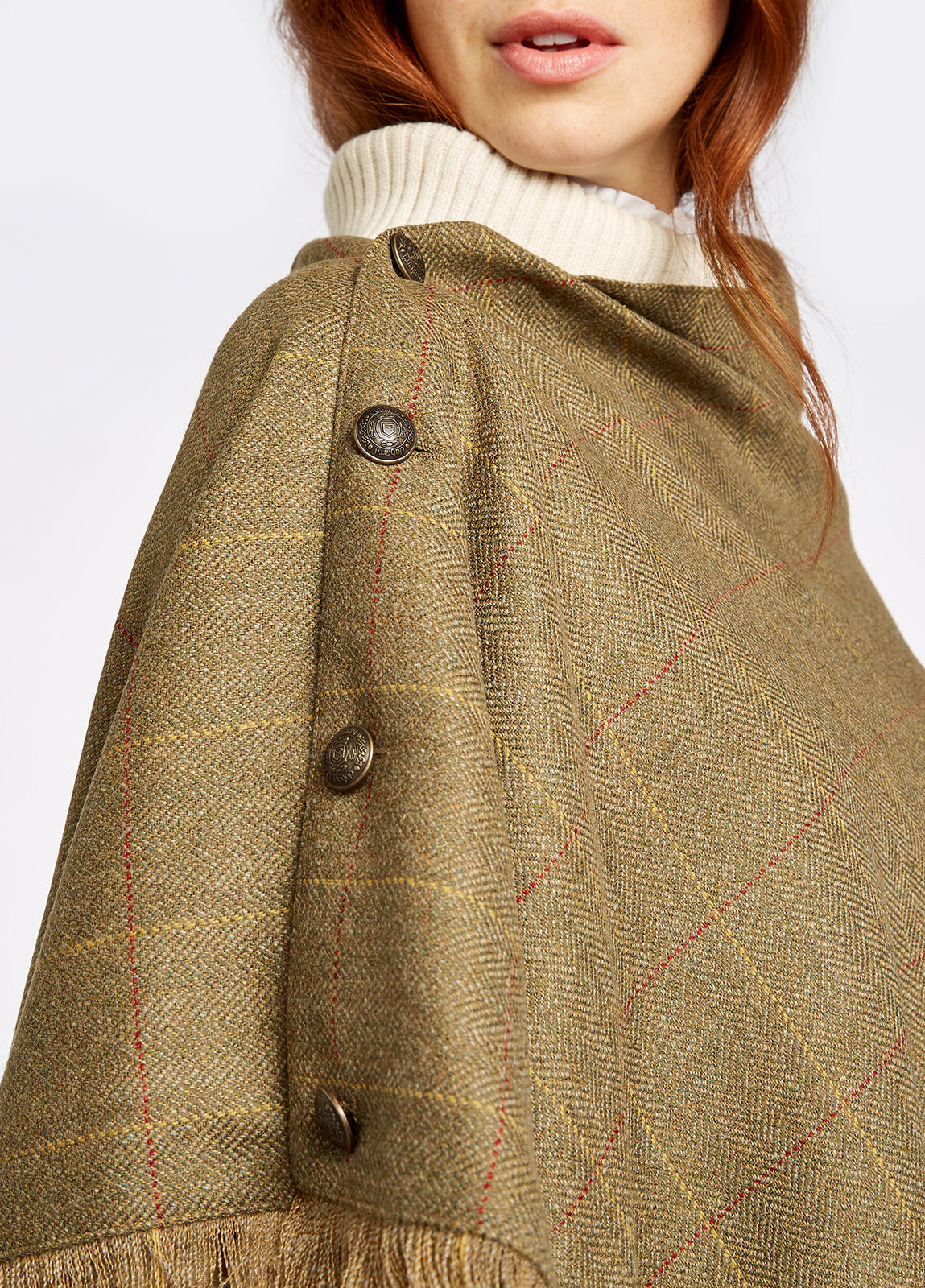 Dubarry Hazelwood Tweed Poncho for Ladies in Elm