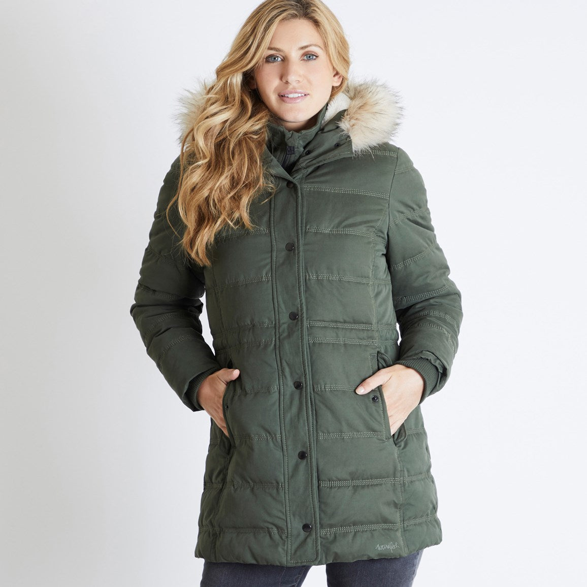 Weird Fish Tonka Parka Puffer Coat for Ladies in Dark Olive