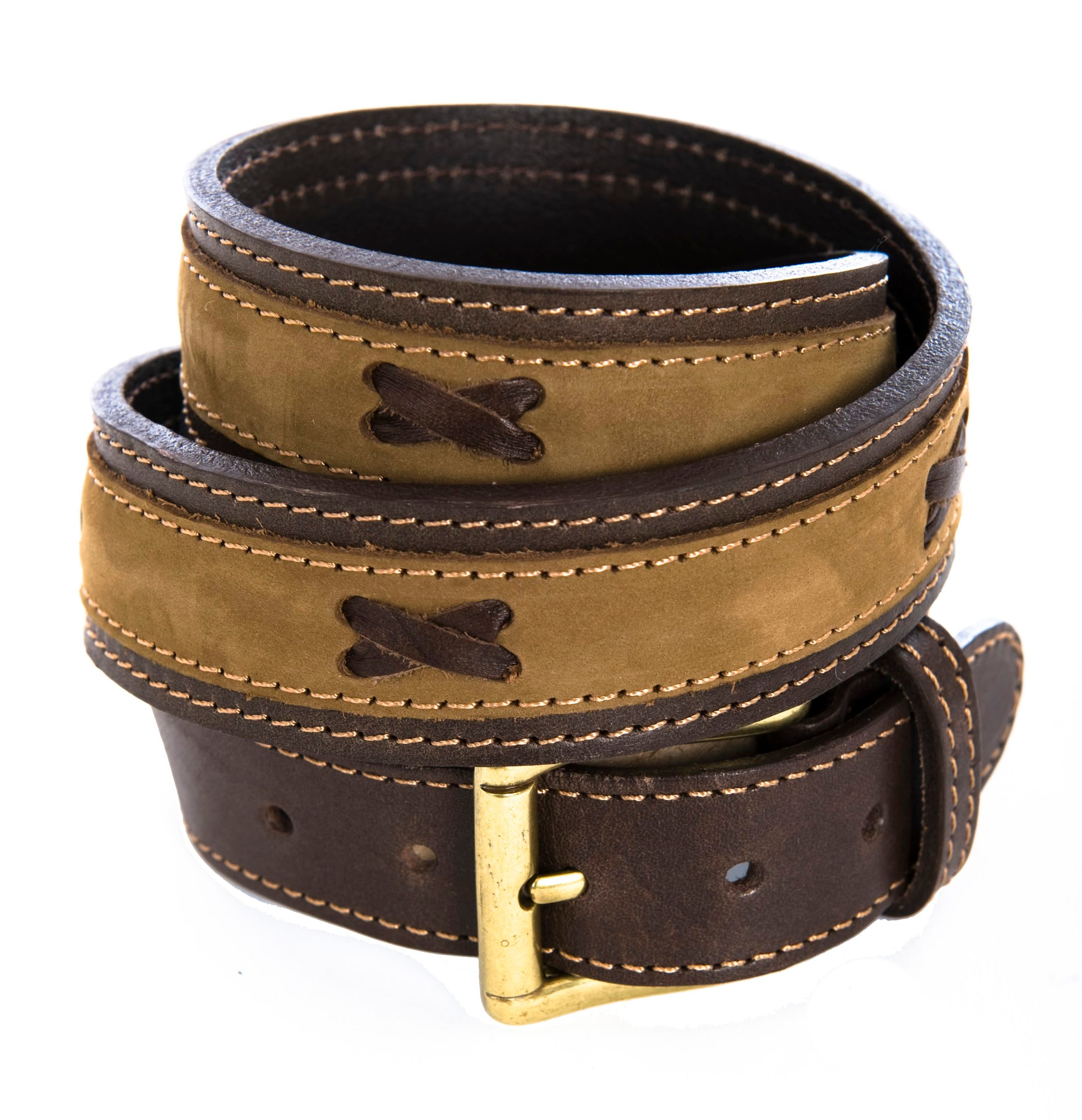 Pioneros Brown Nubuck Polo Belt in Brown