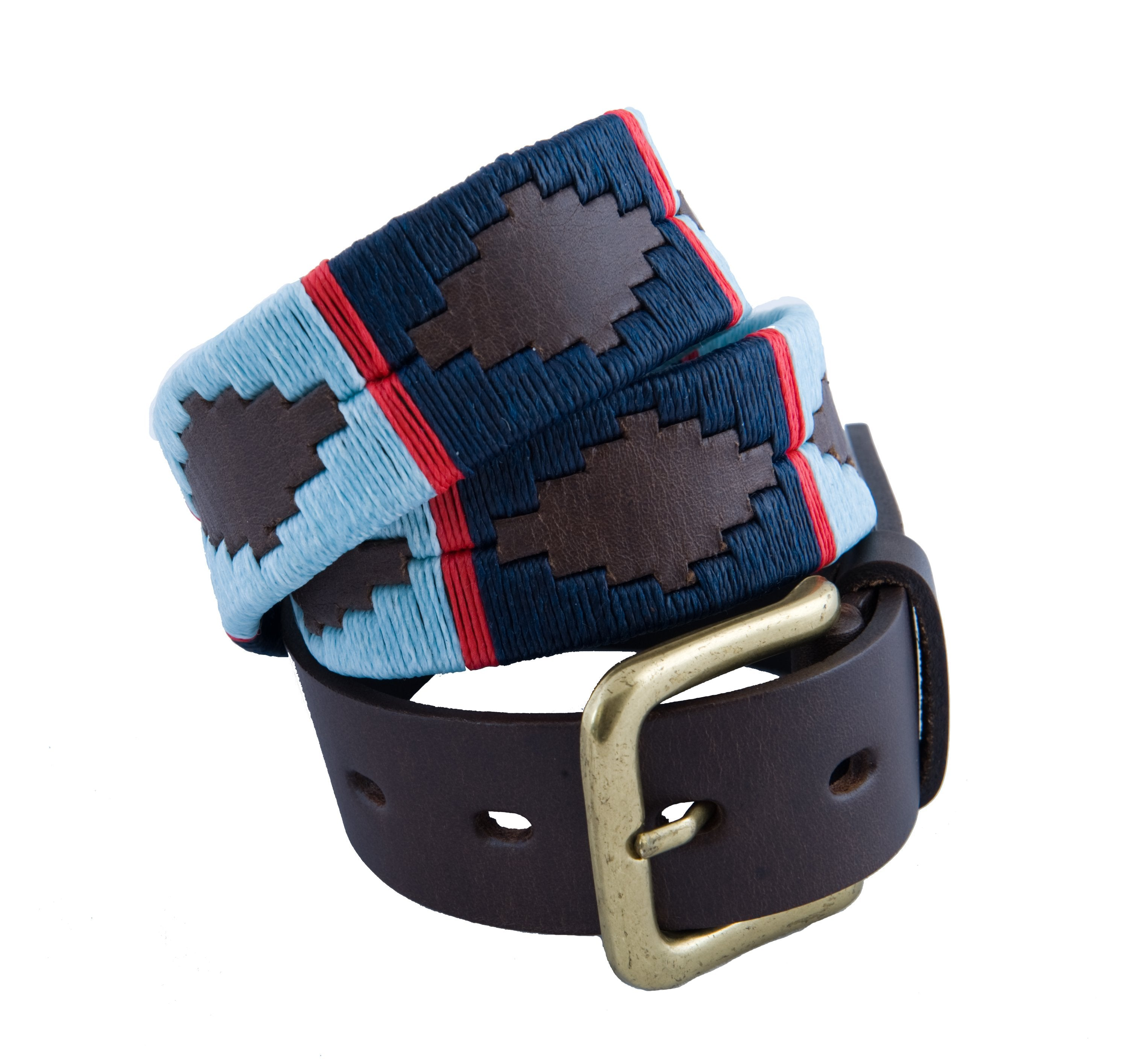 Pioneros Brown Polo Belt in Navy/Pale Blue/Red Stripe