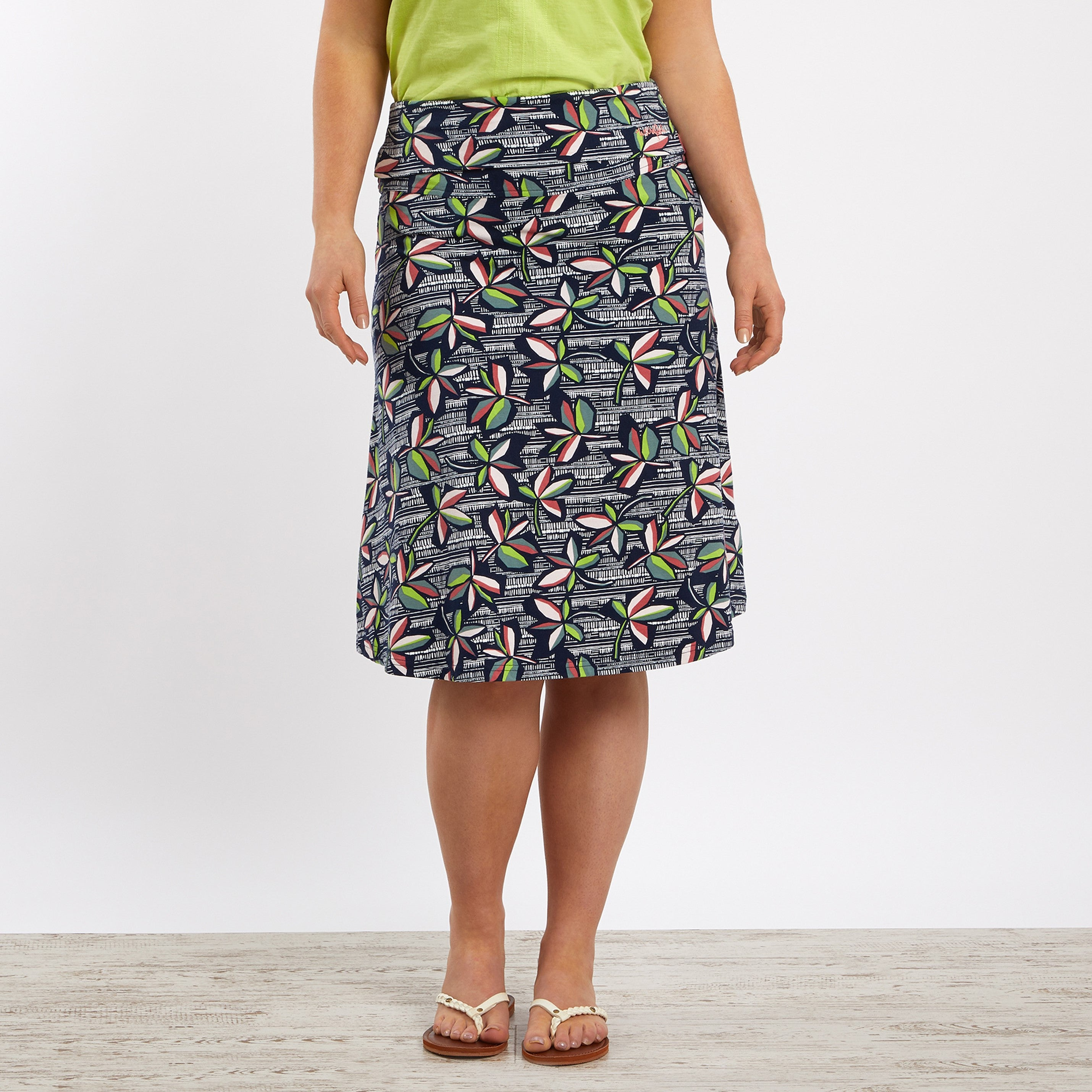 Weird Fish Malmo Printed Jersey Skirt for Ladies in Navy