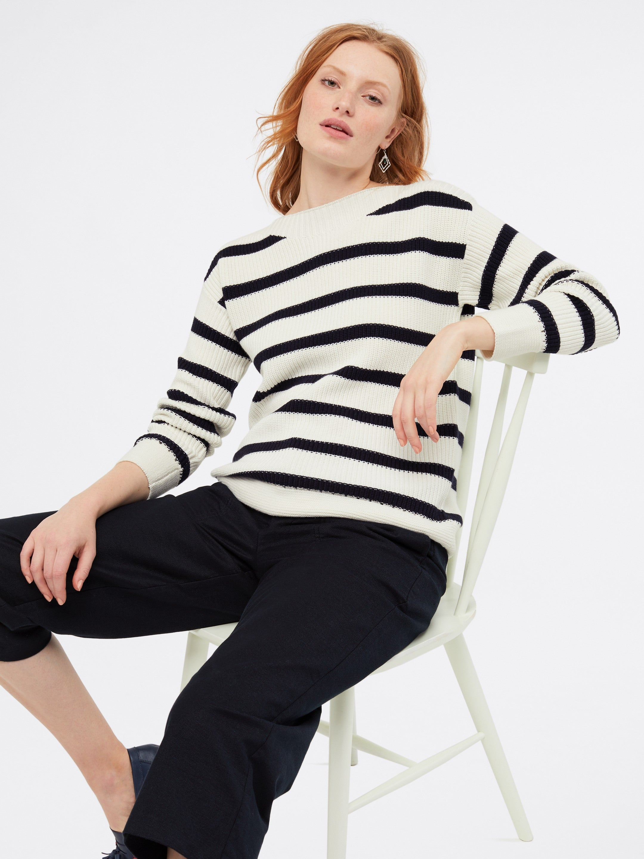 White Stuff South Seas Jumper for Ladies in Cream Stripe