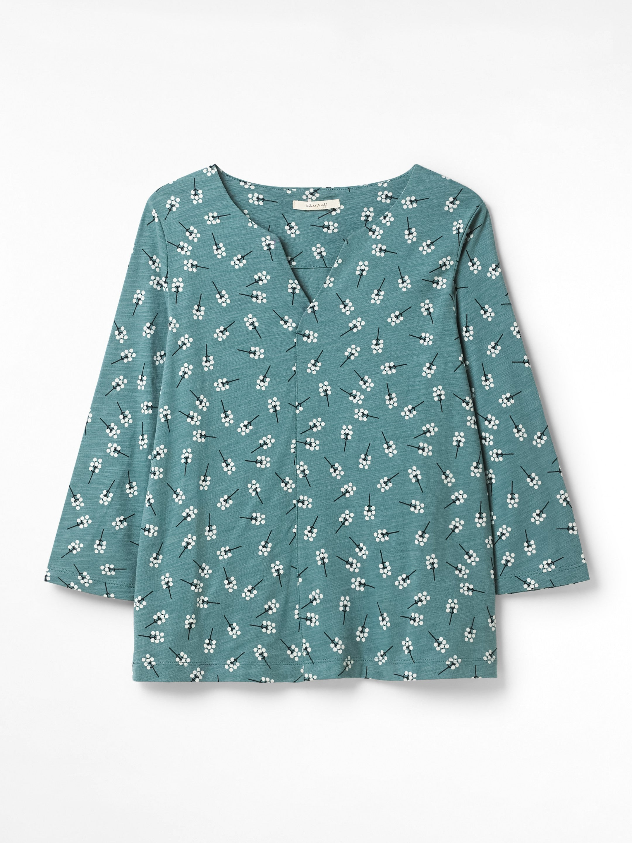 White Stuff Nilly Print Jersey Top for Ladies in Glassy Teal
