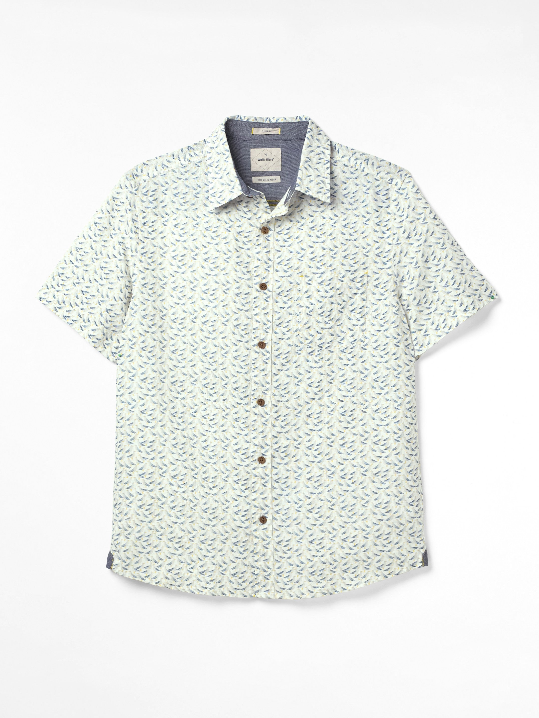 White Stuff Seagulls Print Shirt for Men in Grey