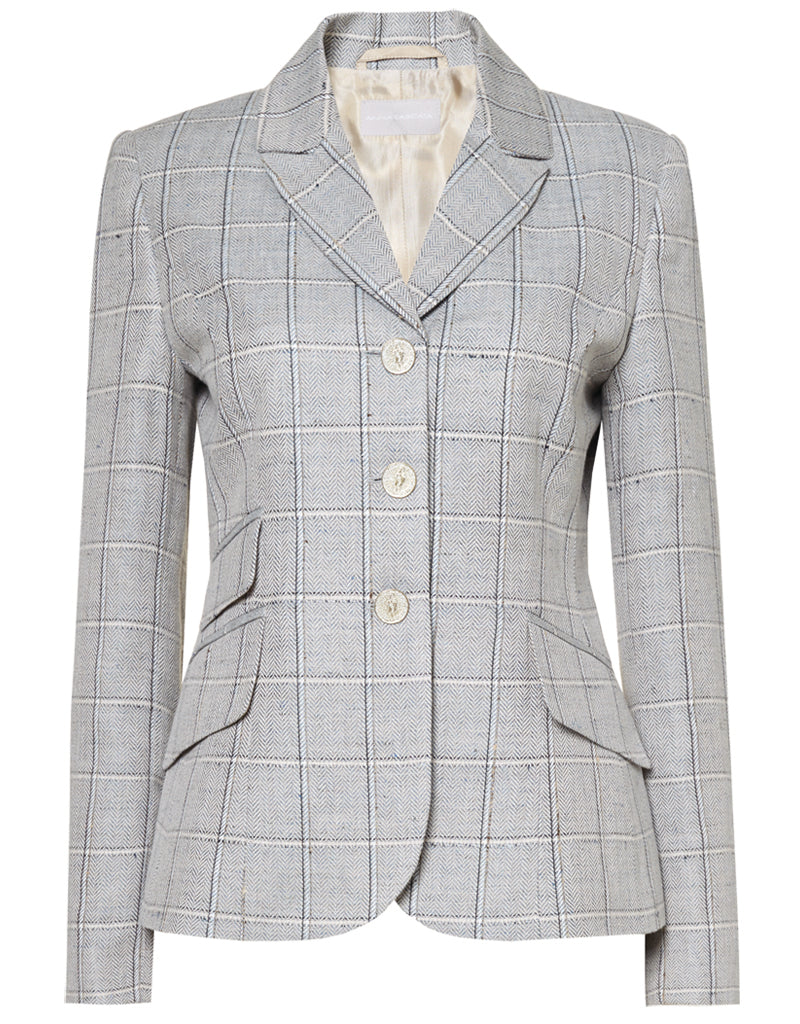Anna Lascata Celia Hacking Jacket for Ladies in Navy Sand Check