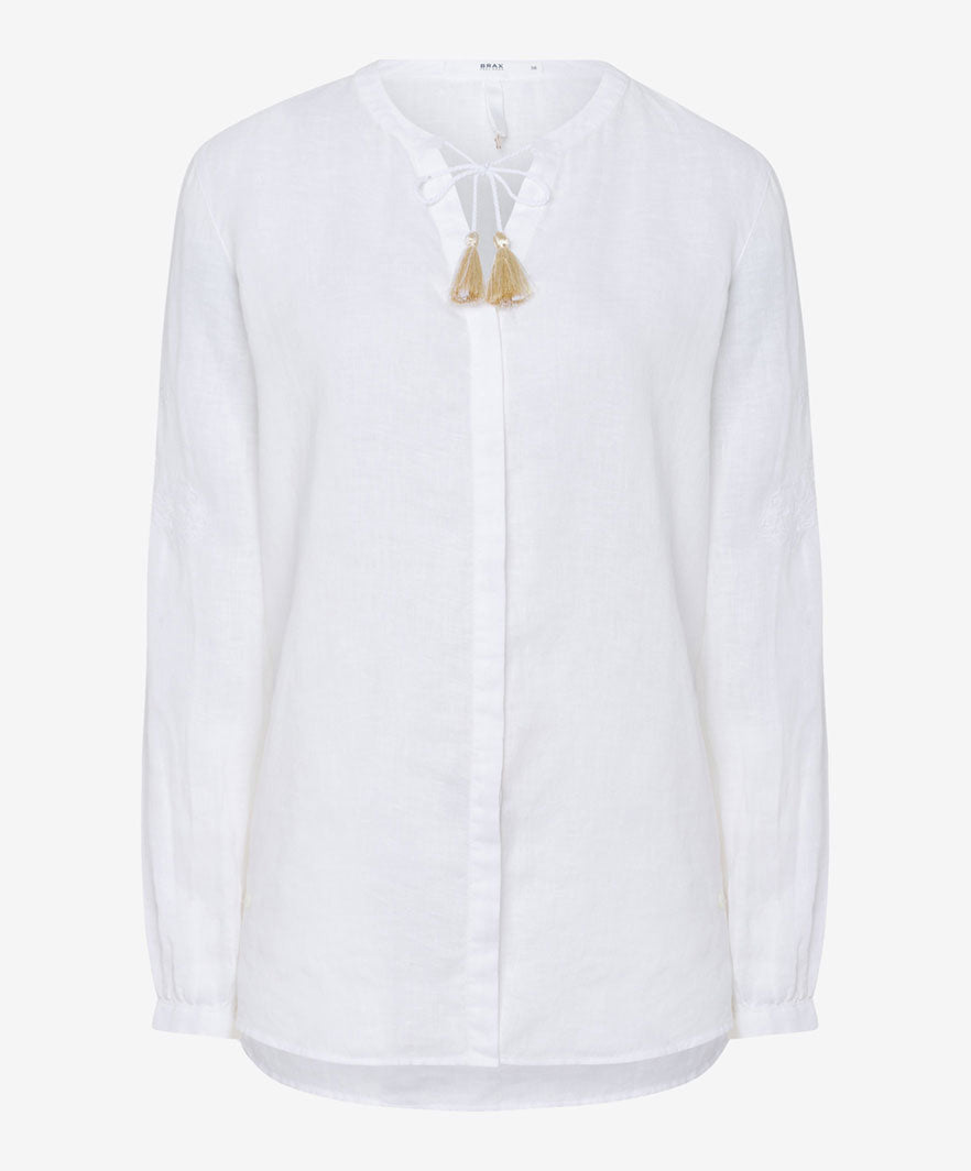 Brax Val Linen Blouse for Ladies in White
