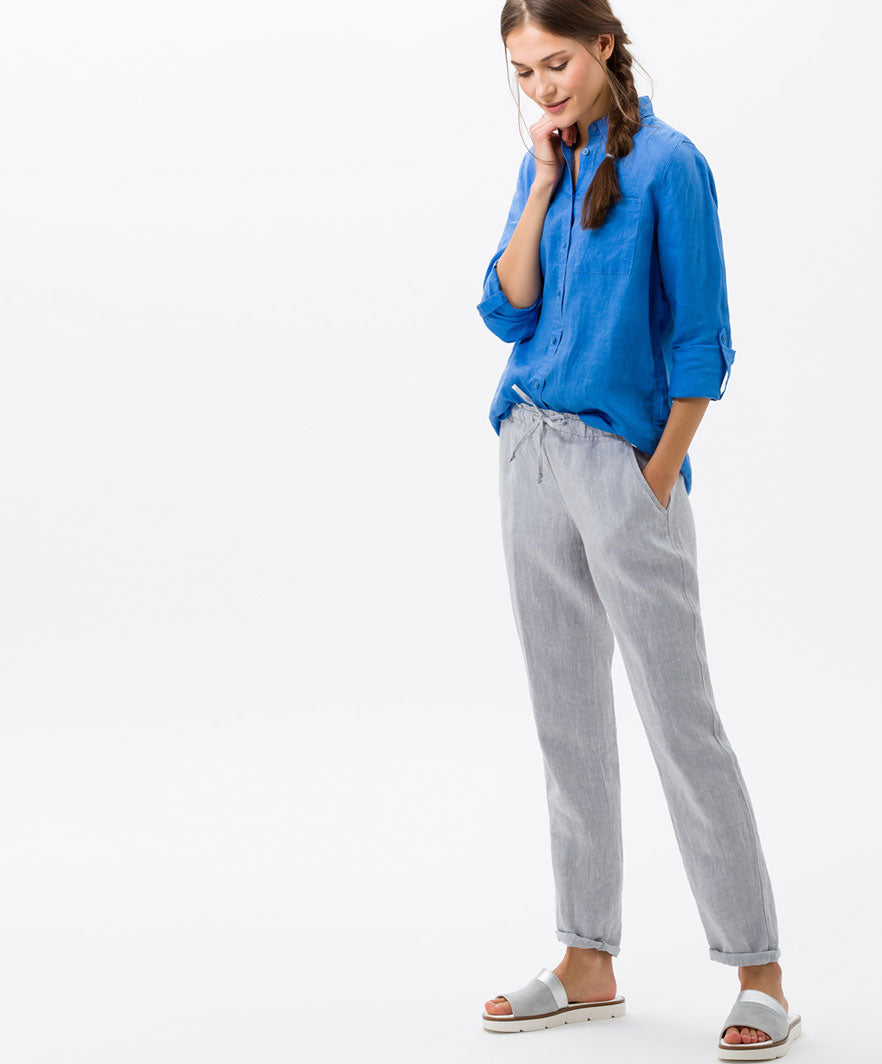 Brax Victoria Linen Blouse for Ladies in Blue
