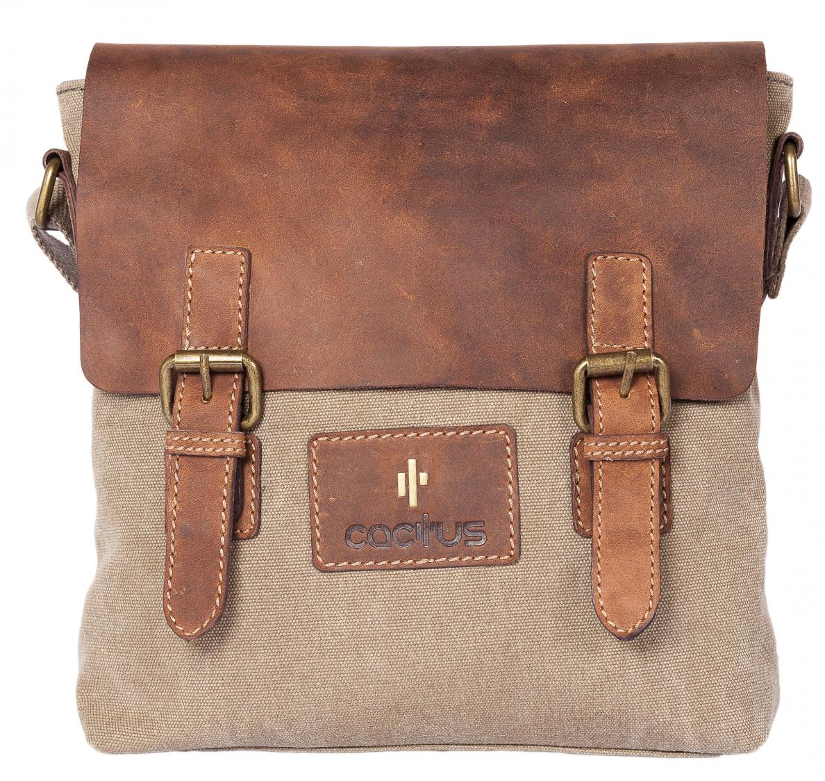 Cactus Cross Body Bag with Leather Flap in Khaki