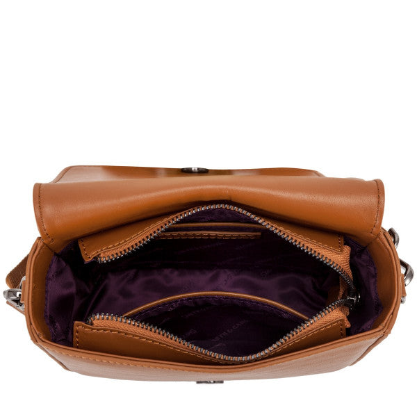 Smith and Canova Smooth Leather Flap Over X Body Bag in Tan