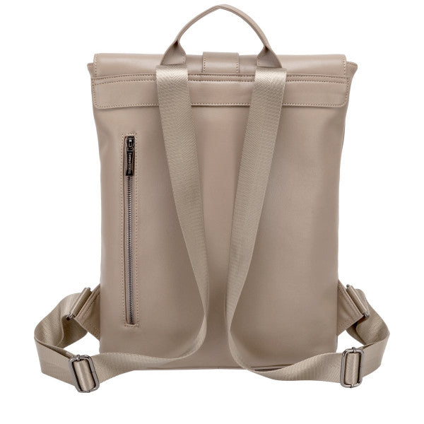 Smith and Canova Leather Buckle Backpack in Taupe