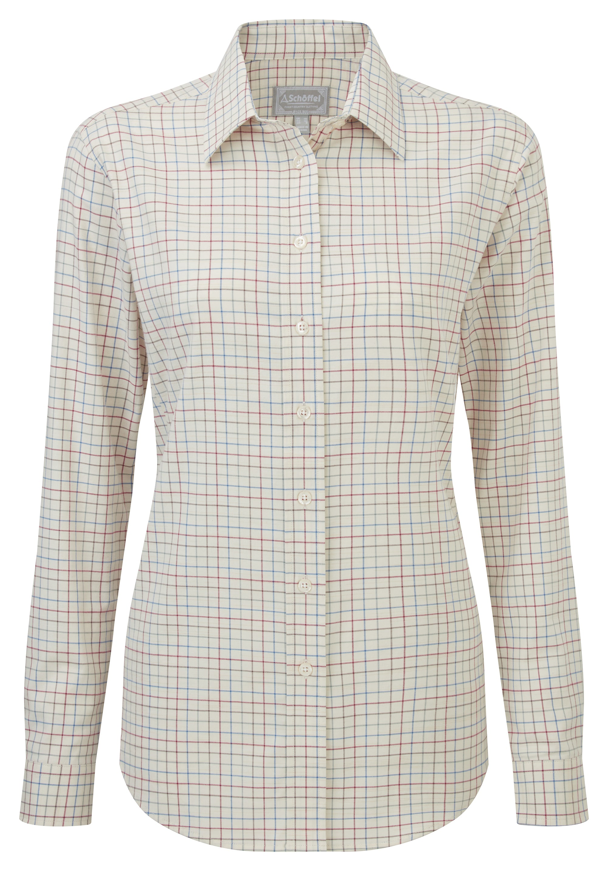 Schoffel Ashley Tattersall Shirt for Ladies in Grey Chilli Mole Cobalt