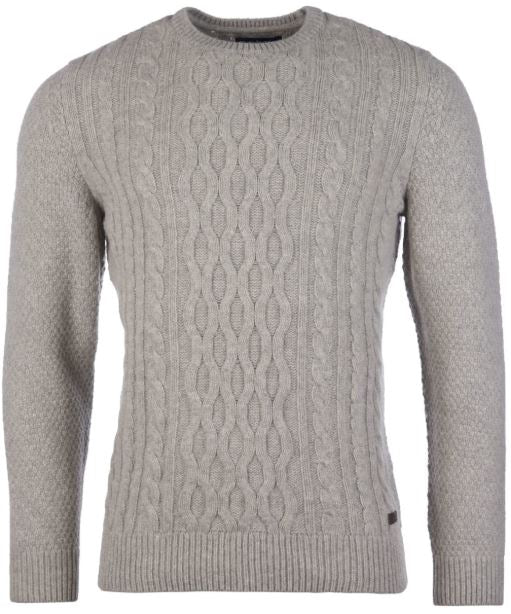 Barbour Chunky Cable Knit Sweater for Men in Fog