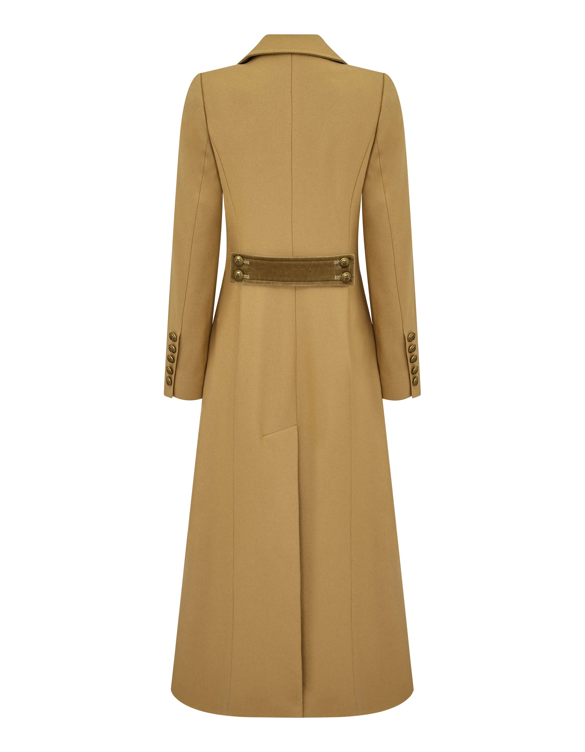 Guinea Long Trench Coat for Ladies in Camel Melton