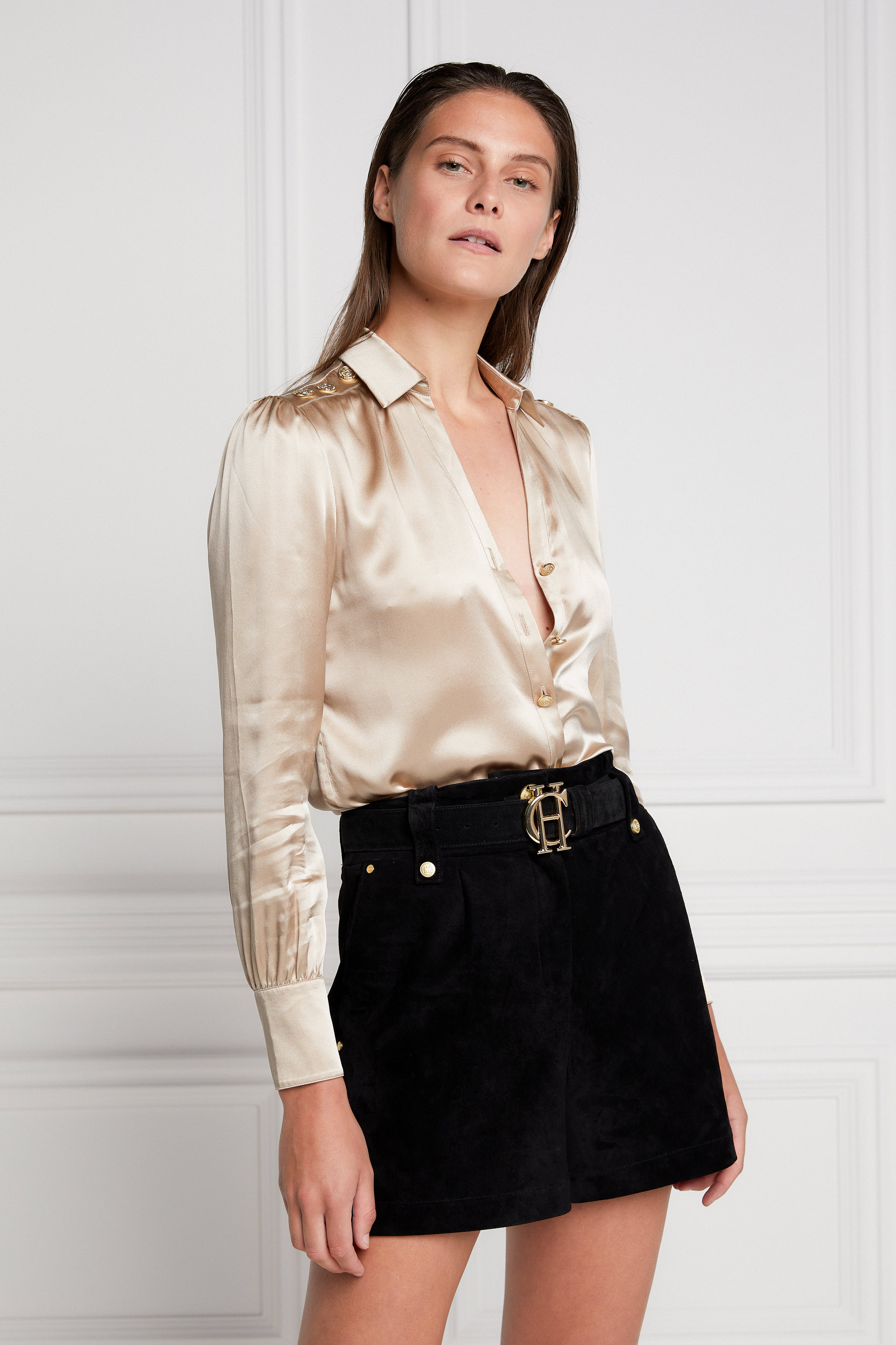 Holland Cooper Silk V-neck Blouse for Ladies in Champagne