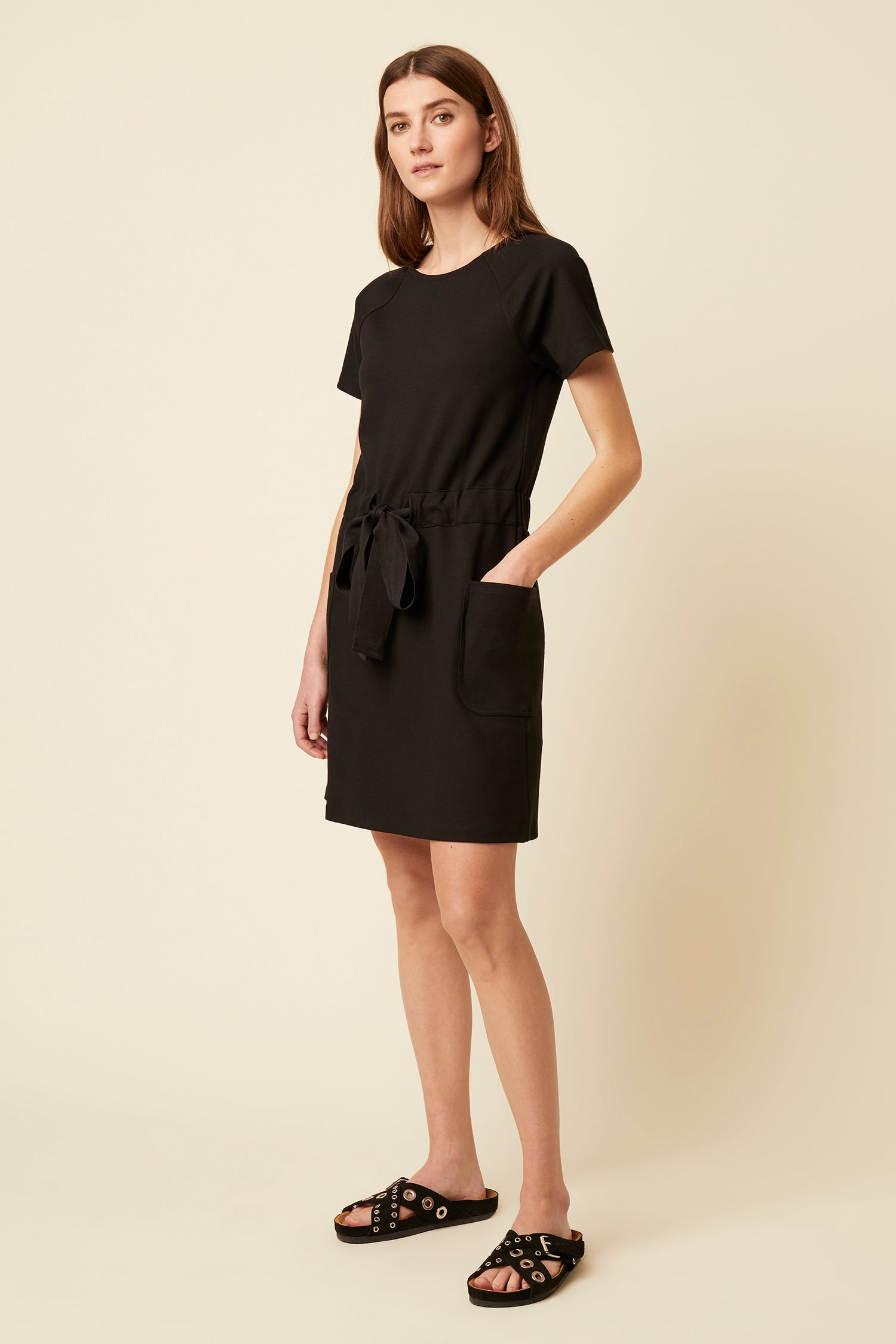 Great Plains Pia Ponte Short Sleeve Midi Dress for Ladies in Black