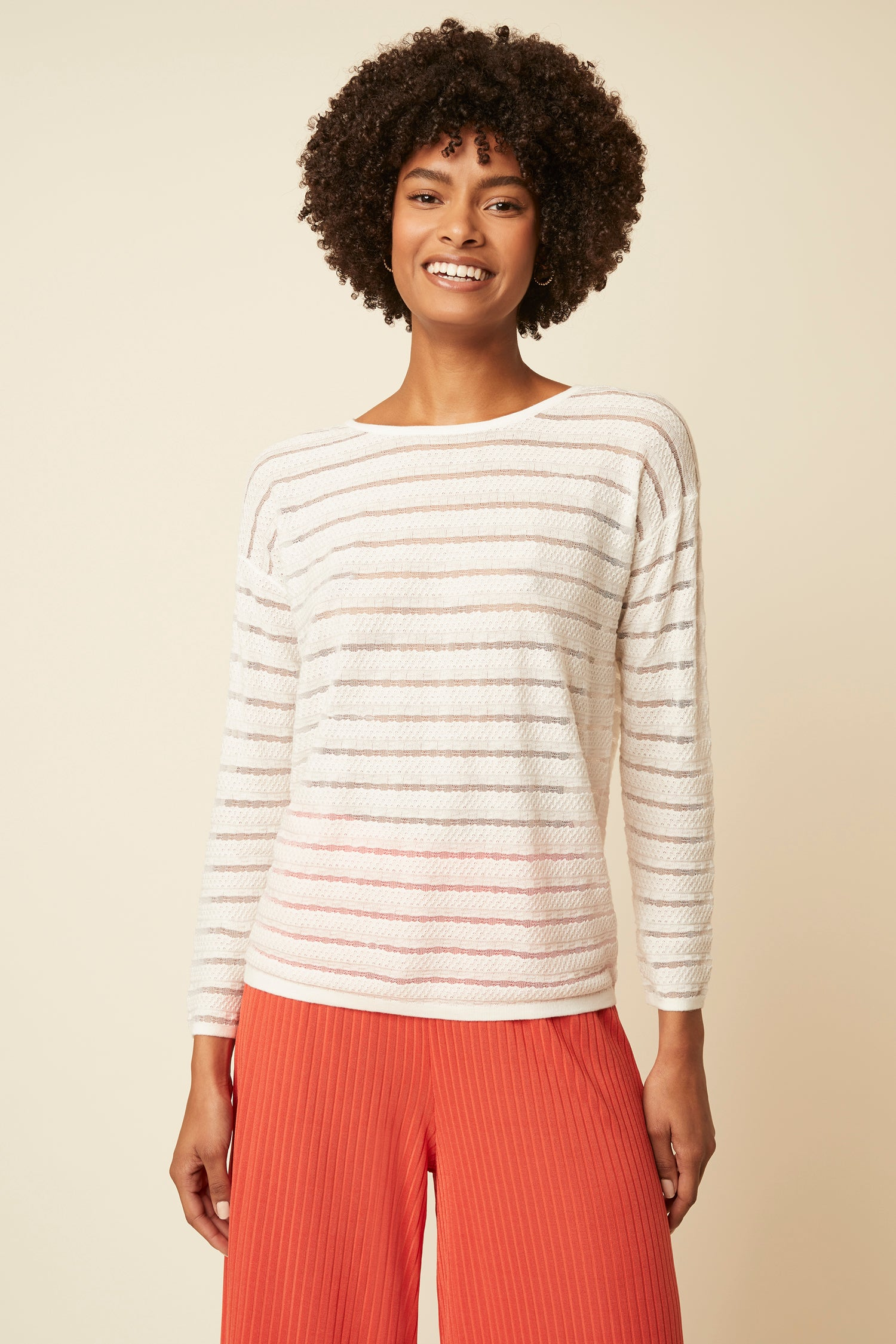 Great Plains Elora Knit Polo Jumper for Ladies in Milk / Space Navy
