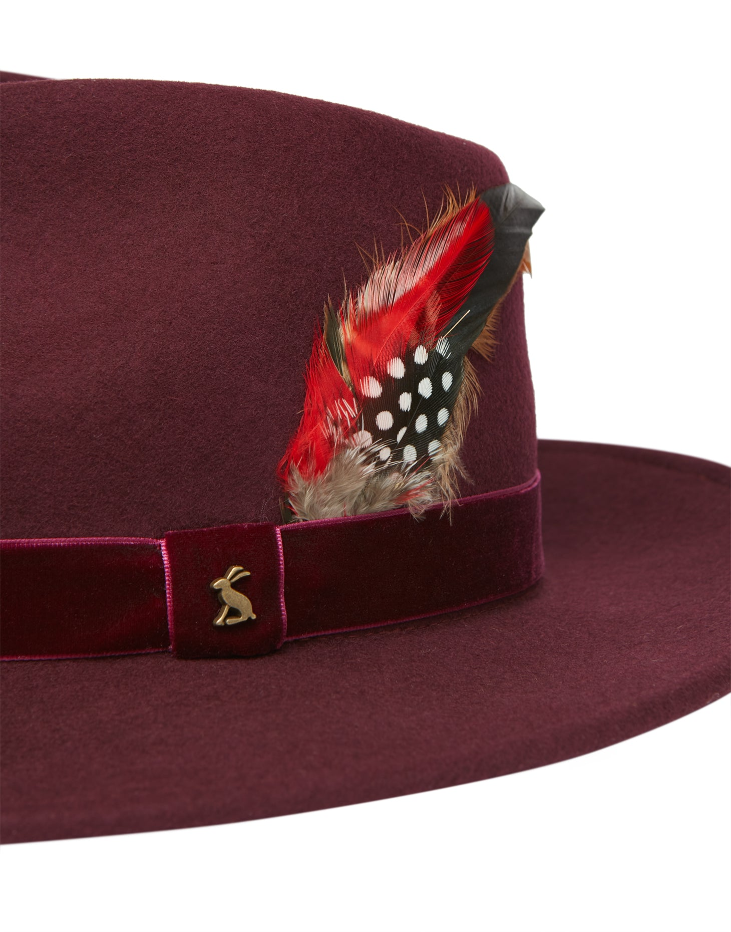 Joules Fedora Felt Hat for Ladies in Oxblood
